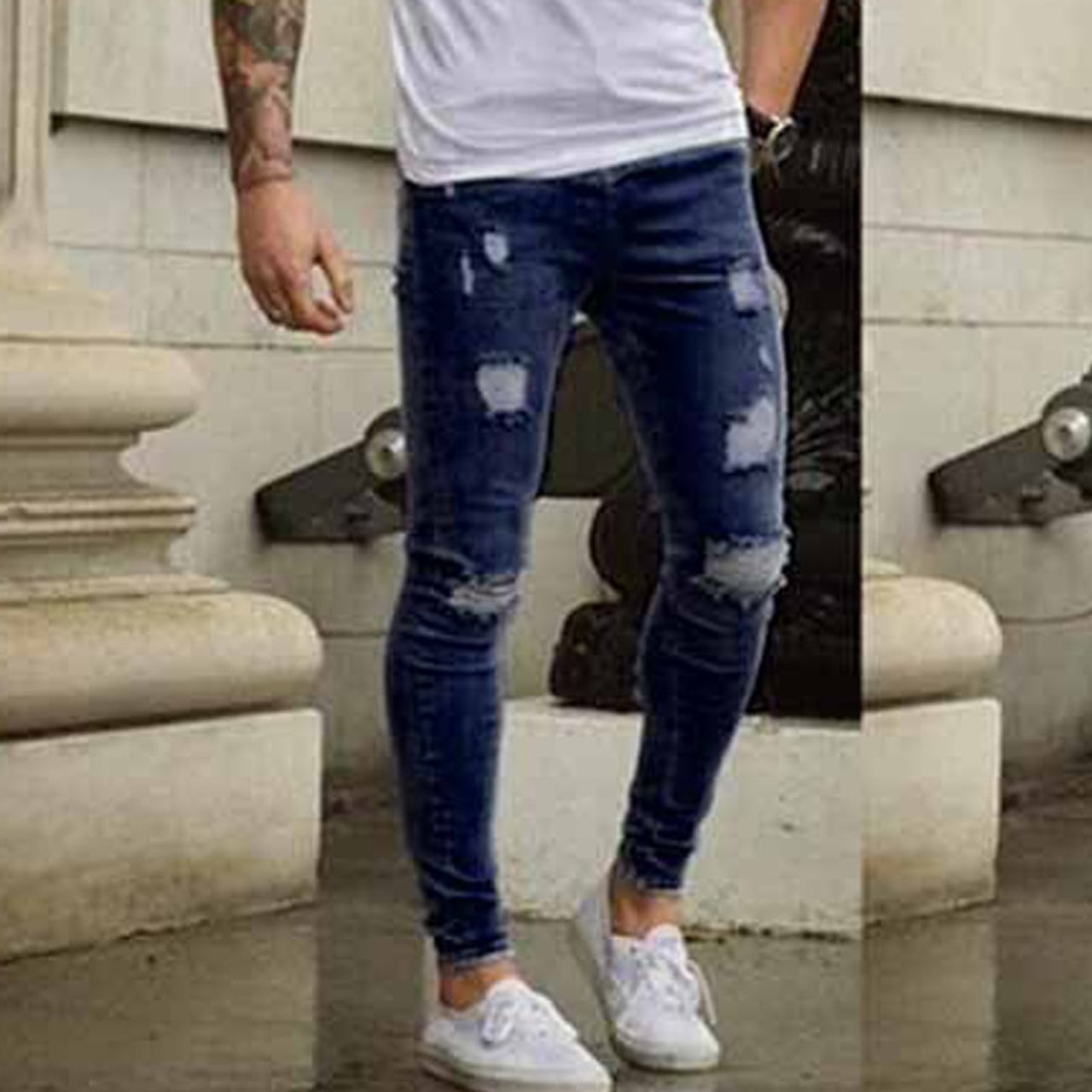 fb369018d1 ... New Men's Ankle Length Slim Jeans Streetwear Holes Summer Ripped Pencil  Pants Trousers Casual Denim Skinny ...