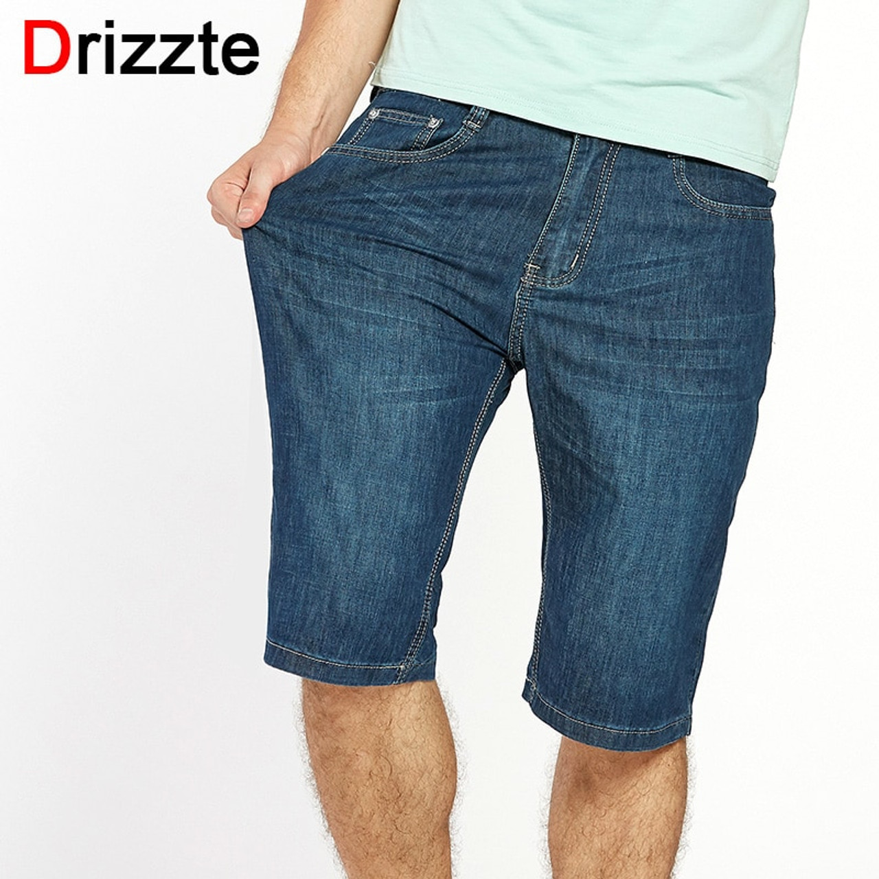 Drizzte Plus Size 42 44 46 48 50 52 Blue Stretch Jeans Shorts Summer for Men