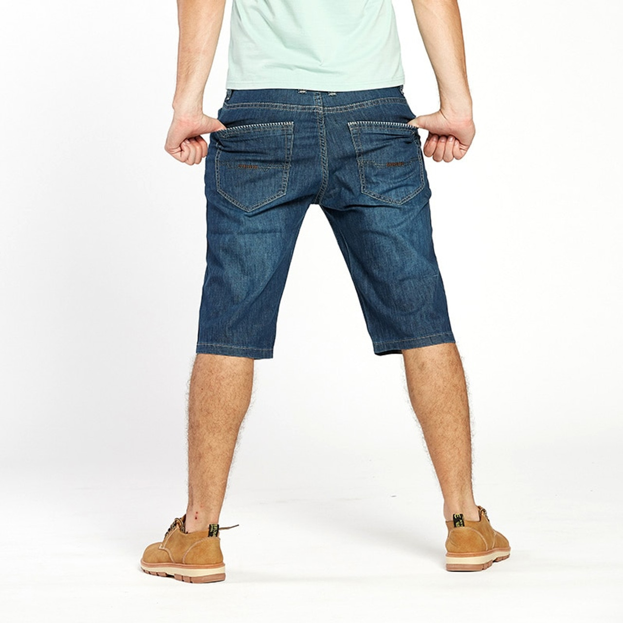 32aa88deaa352 ... Drizzte Summer Fashion Mens Jeans Stretch Denim Plus Size Jeans Shorts  Pants Trouser Size 42 44 ...