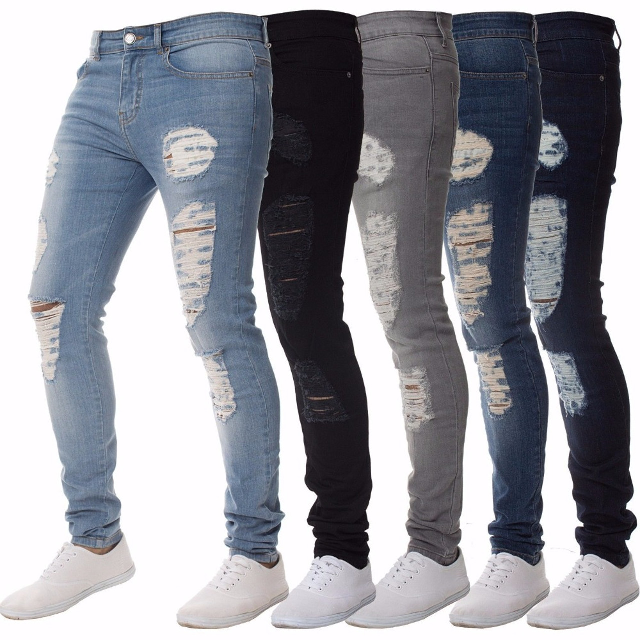 d8b0e822a39 ... Mens Casual Skinny Jeans Pants Men Solid black ripped jeans men Ripped  Beggar Jeans With Knee ...