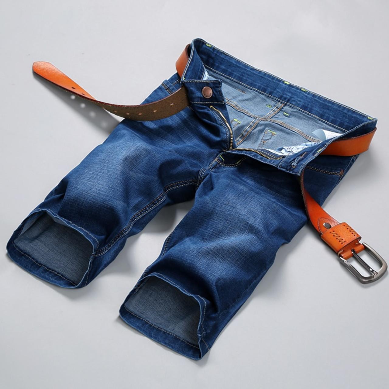 07fdd76629216 ... 2018new Summer Stretch Thin high quality cotton Denim Jeans male Short  Men blue black Soft fashion ...