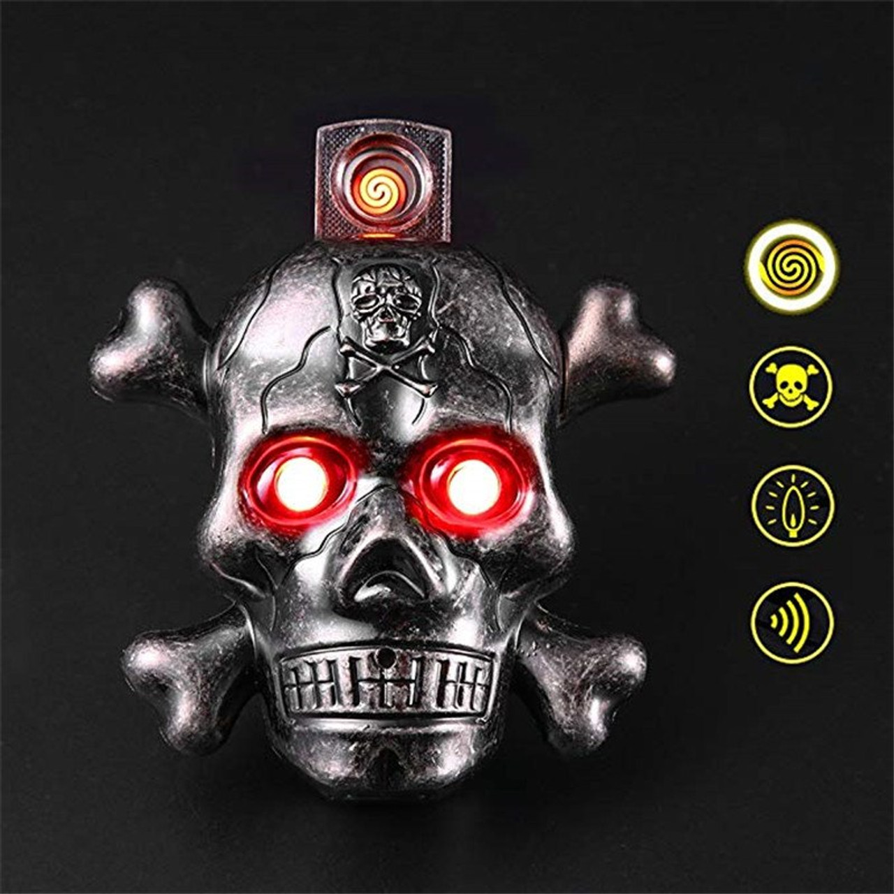 Creative Skull Lighter USB Sound Windproof Electoric Lighter Charging  Rechargeable Flameless Lighters Metal Cigarette Lighters