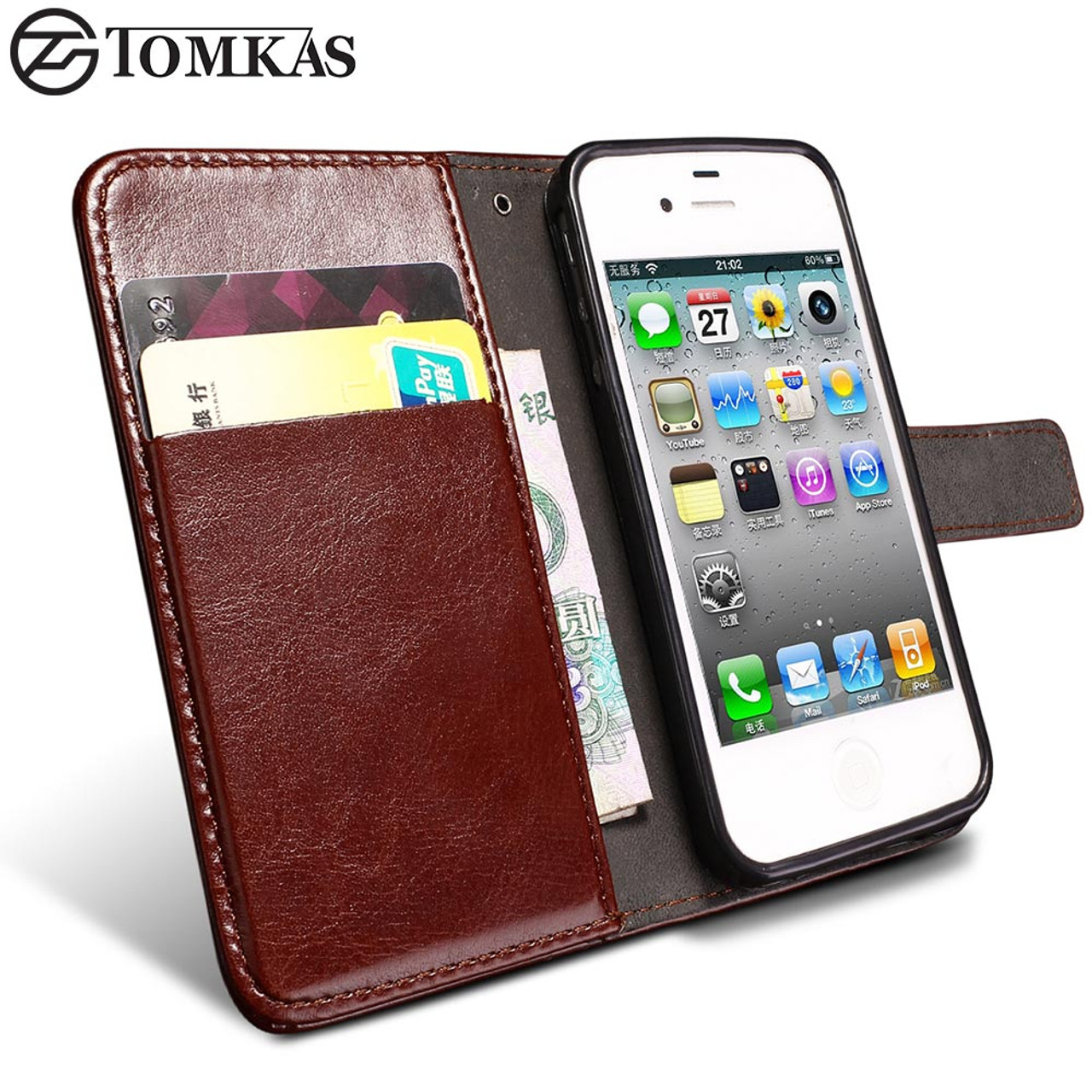 purchase cheap db5f1 73c14 TOMKAS 4S Flip Wallet PU Leather Case For iPhone 4 4S Cover Vintage Coque  Phone Bag Cases For Apple iPhone 4S With Card Holders