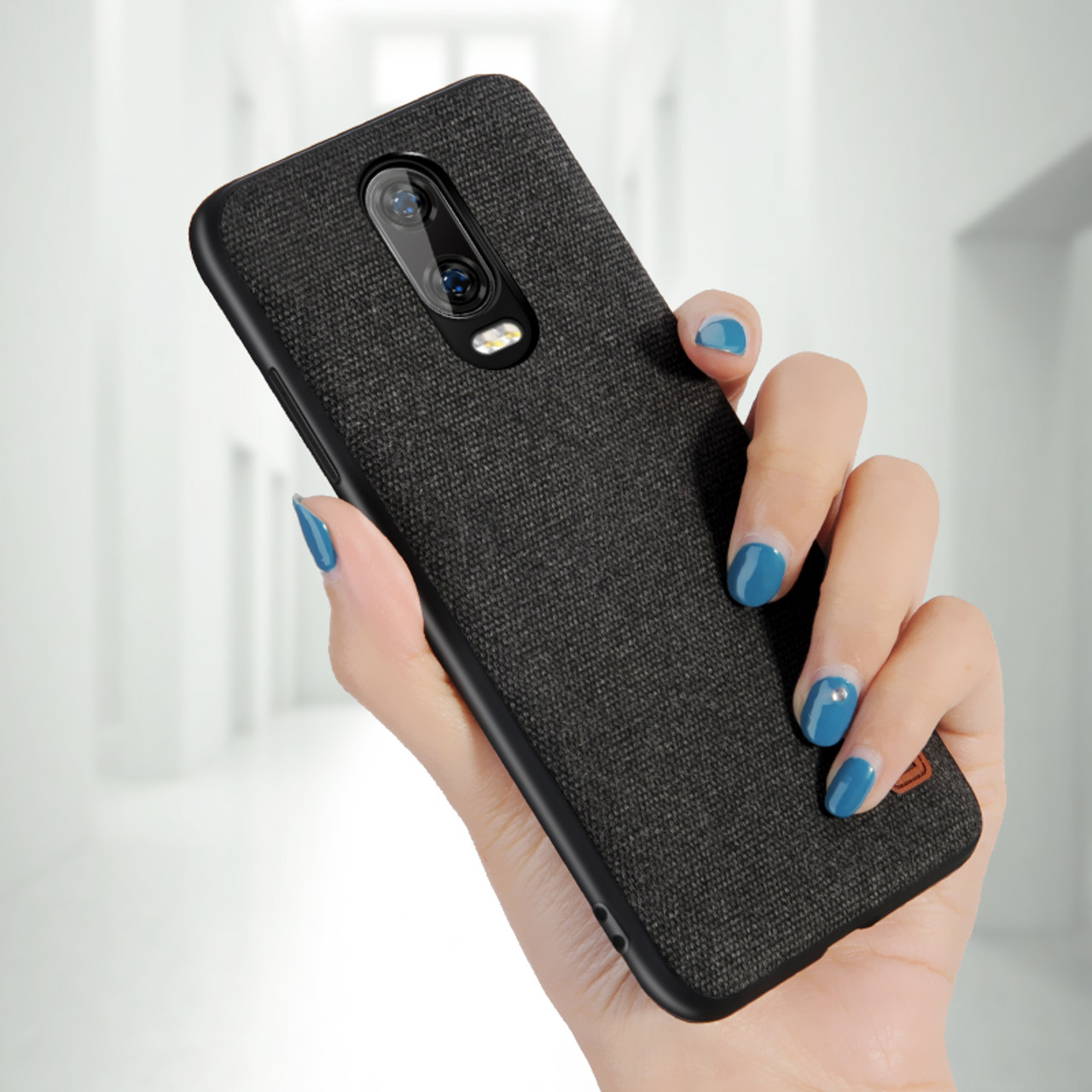 new concept 25074 129a4 oneplus 6t Case Cover MOFI One Plus 6T Back Fabric Case for 1+6T Full Cover  Soft silicone edge Case OP6T Hard Frosted Case