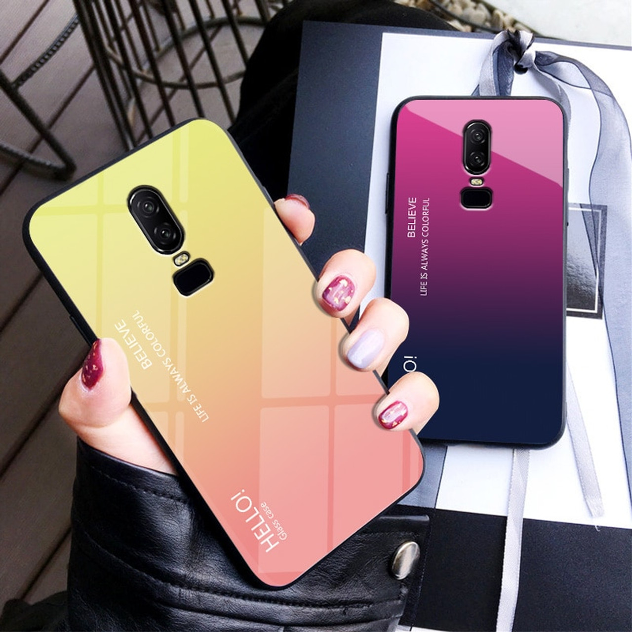 hot sale online 192f8 ad058 For Oneplus 6T Case Gradient Colorful Tempered Glass Hard Back Cover Phone  Case For Oneplus 6 One plus 6T 1+6T Shockproof
