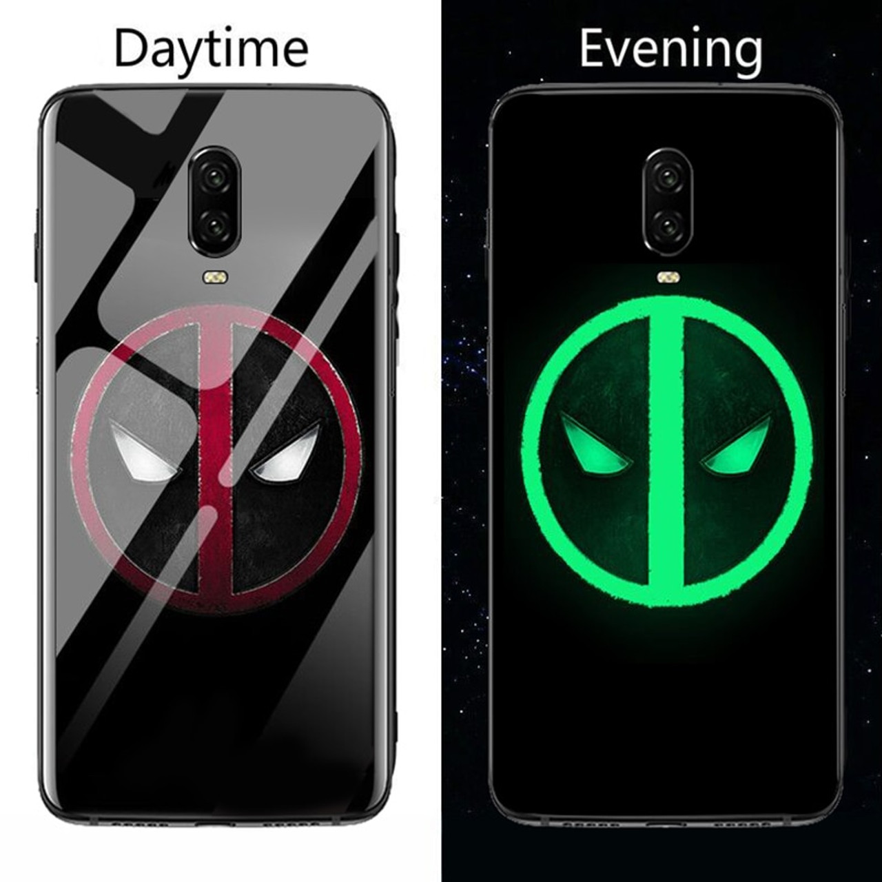 outlet store e7c7f 048a2 Marvel Venom Deadpool Black Panther Luminous Glass Phone Case For Oneplus 5  5T 6 6T Luxury Silicone Original Back Phone Cover