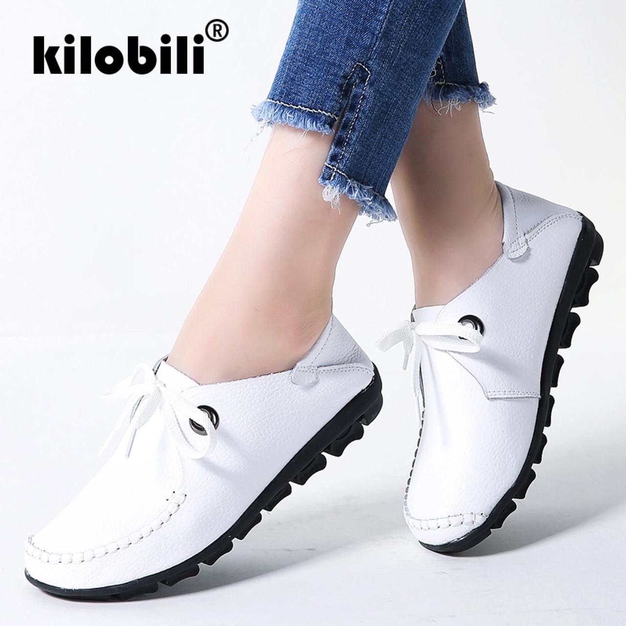 fc46596c60c kilobili 2018 Spring women flats shoes women oxford lace up ballet flats  moccasins White boat shoes ladies lazy loafers shoes - OnshopDeals.Com