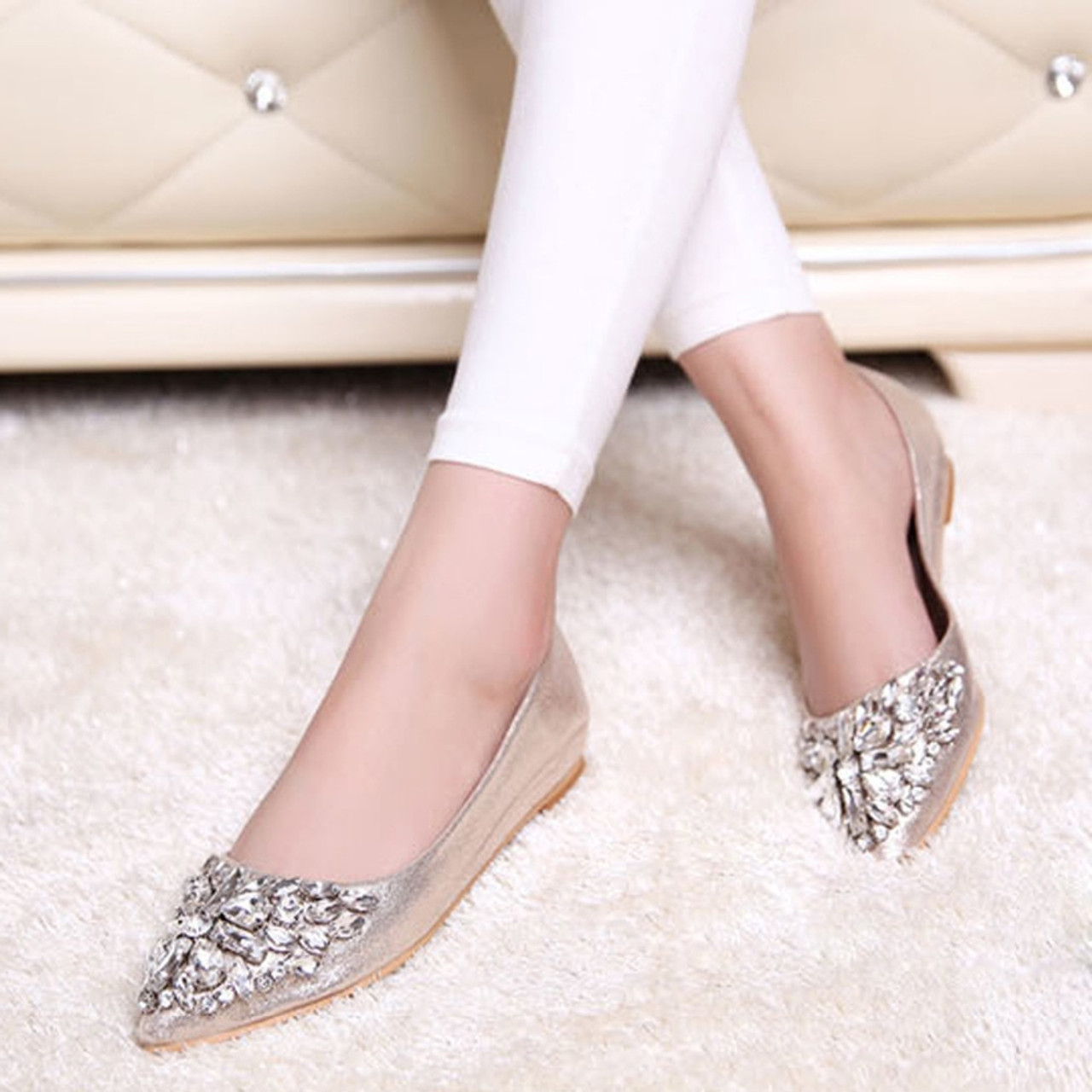 16a36ae93 ... Fashion women Ballet shoes leisure spring pointy ballerina bling  Rhinestone flats shoes princess shiny Crystal wedding ...