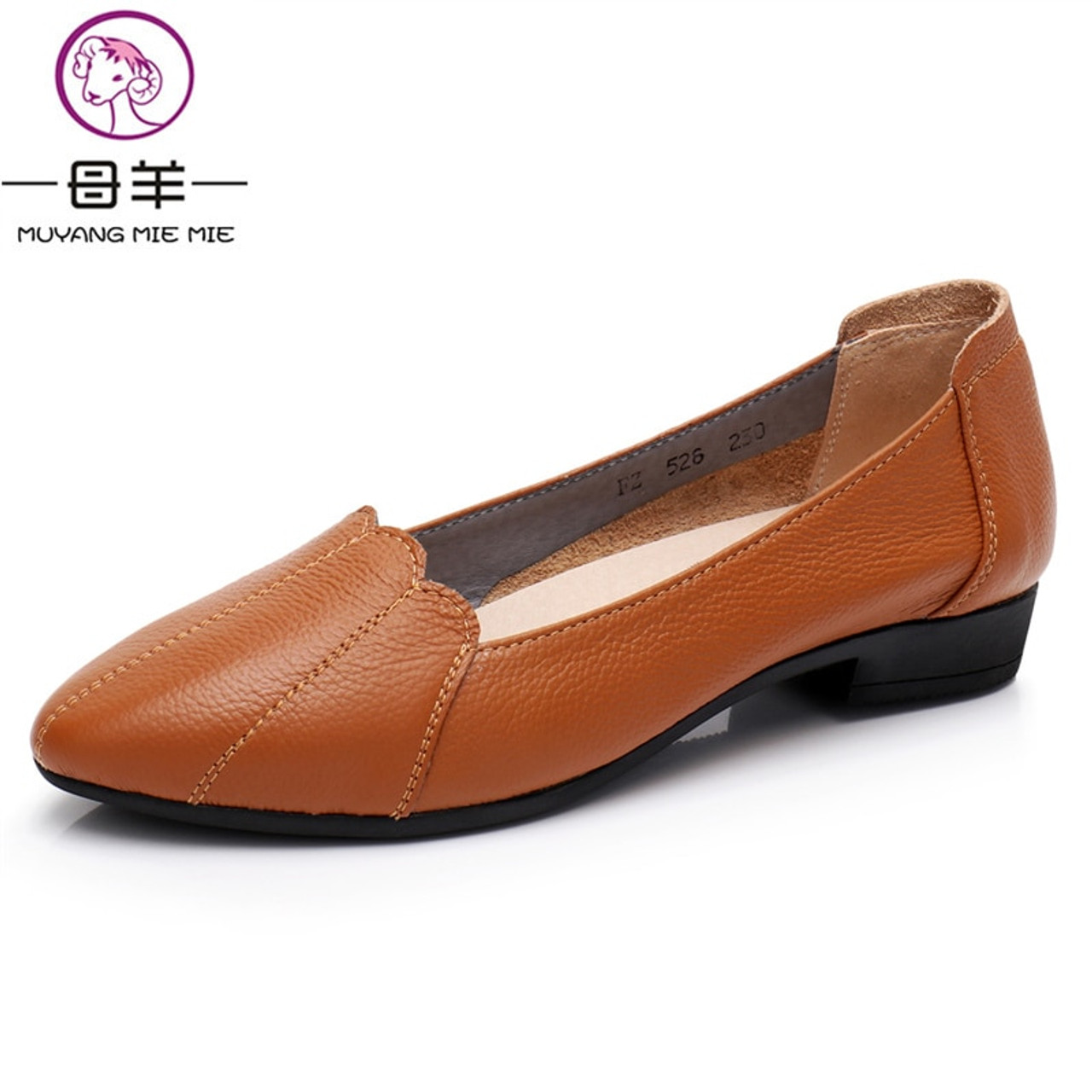 2ea93f681fd ... MUYANG MIE MIE Women Shoes Woman Genuine Leather Flat Shoes Female  Casual Work Ballet Flats Women ...