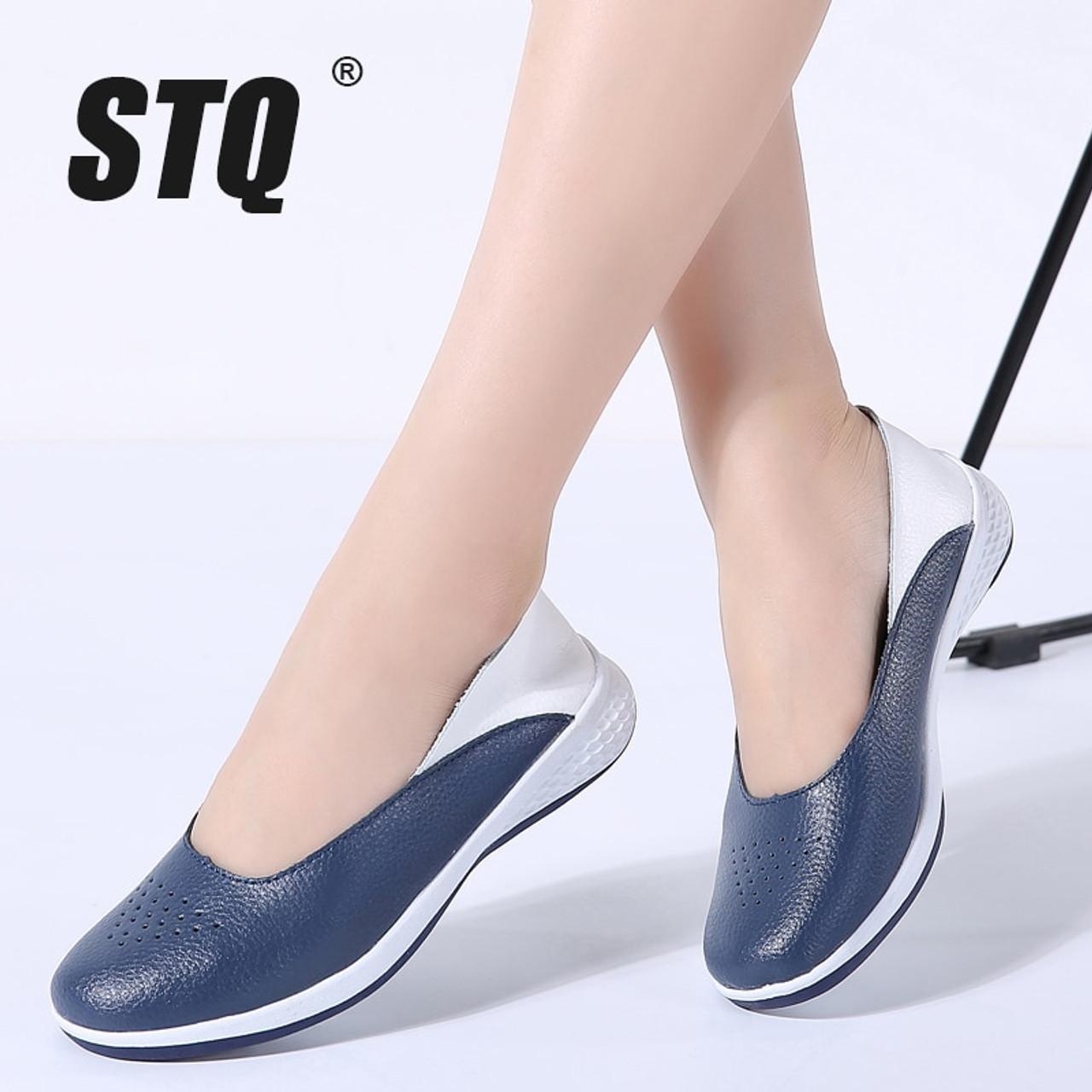1fca5fa23d3 STQ 2019 Spring women Leather Loafers cutout ballet flats shoes female flat  nursing Shoes Woman Slip ...