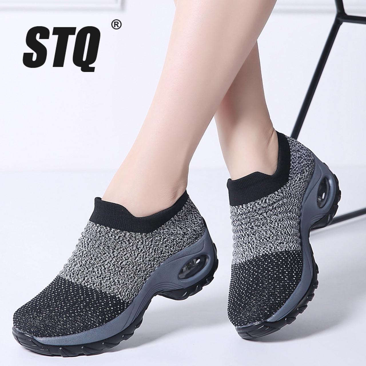 4b99677ef5257 ... STQ 2019 Spring women sneakers shoes flat slip on platform sneakers for  women black breathable mesh ...