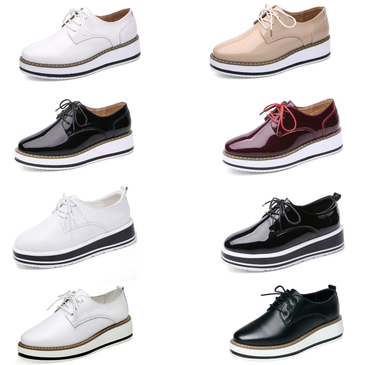 662fd3554f1 ... EOFK Brand Spring Women Platform Shoes Woman Brogue Patent Leather  Flats Lace Up Footwear Female Flat ...