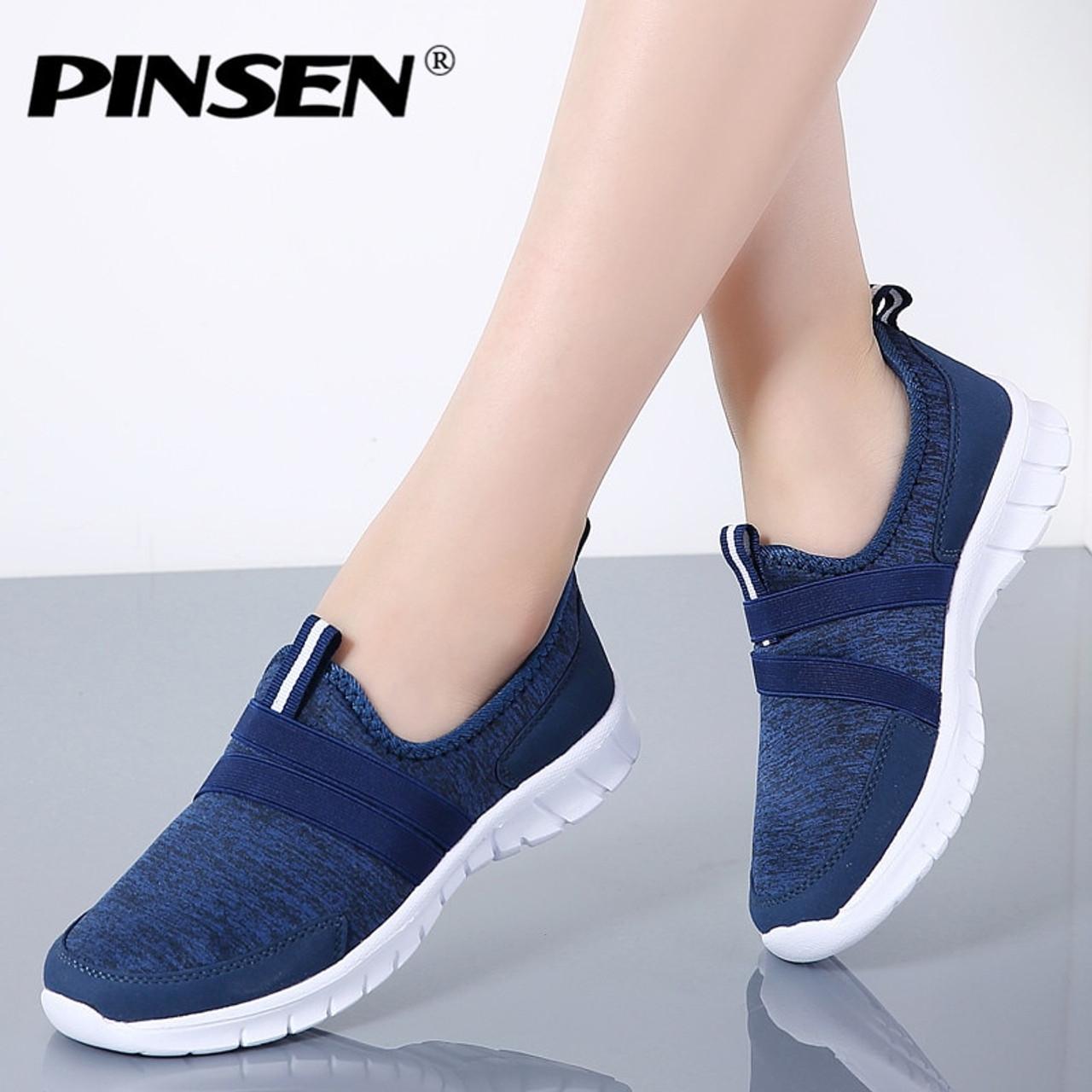 0e62c2295ce7 PINSEN 2019 Autumn Sneakers Women Breathable Mesh Shoes Woman Ballet Slip  On Flats Loafers Ladies Shoes ...