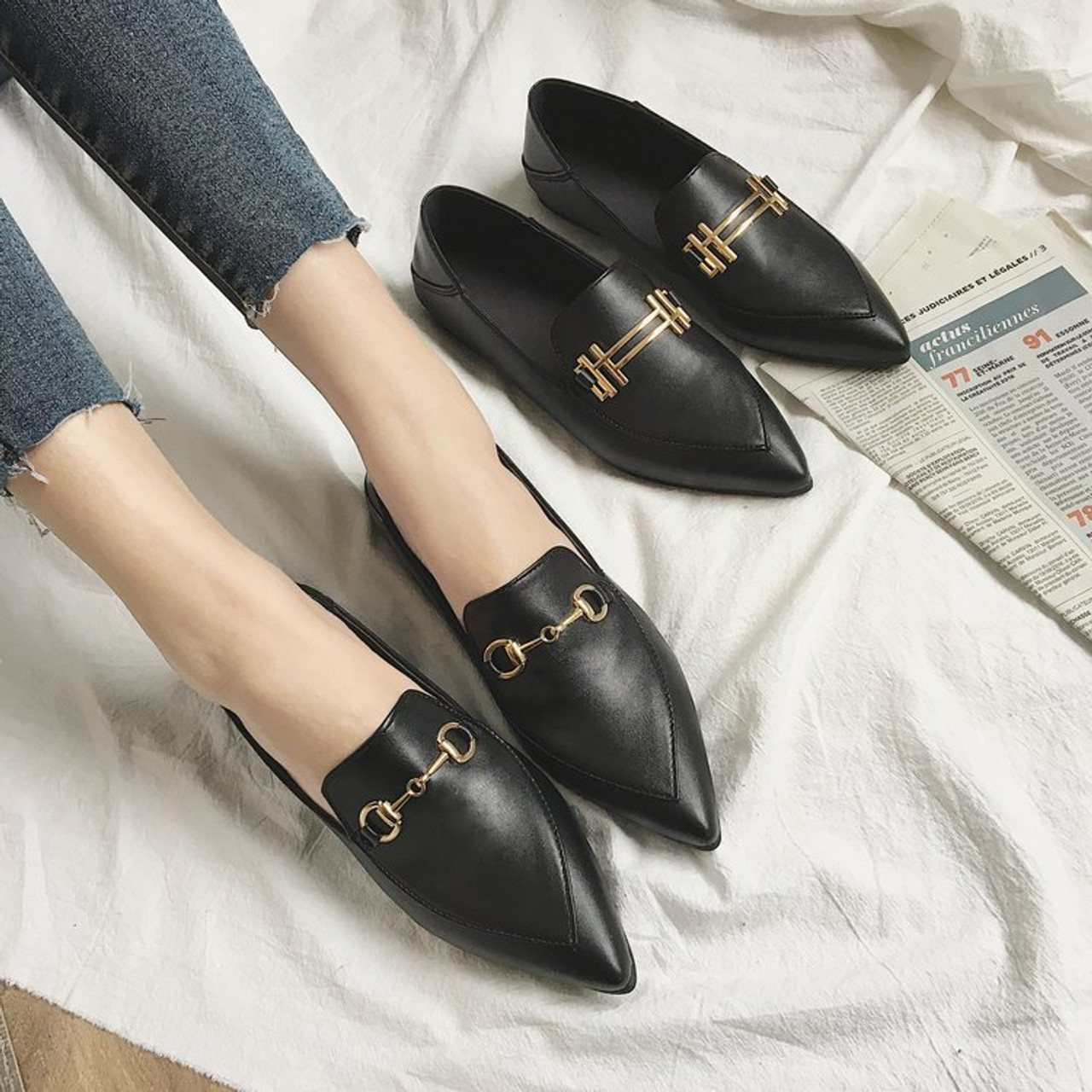 2d61a35e7 ... Korean fashion flat shoes women spring autumn new pointed toe sexy  vintage black casual shoes slip ...