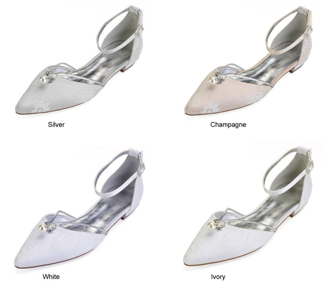 d93c9719e ... Creativesugar elegant pearl flower shape crystal charm lady satin lace  dress flat shoes sweet pointed toe ...