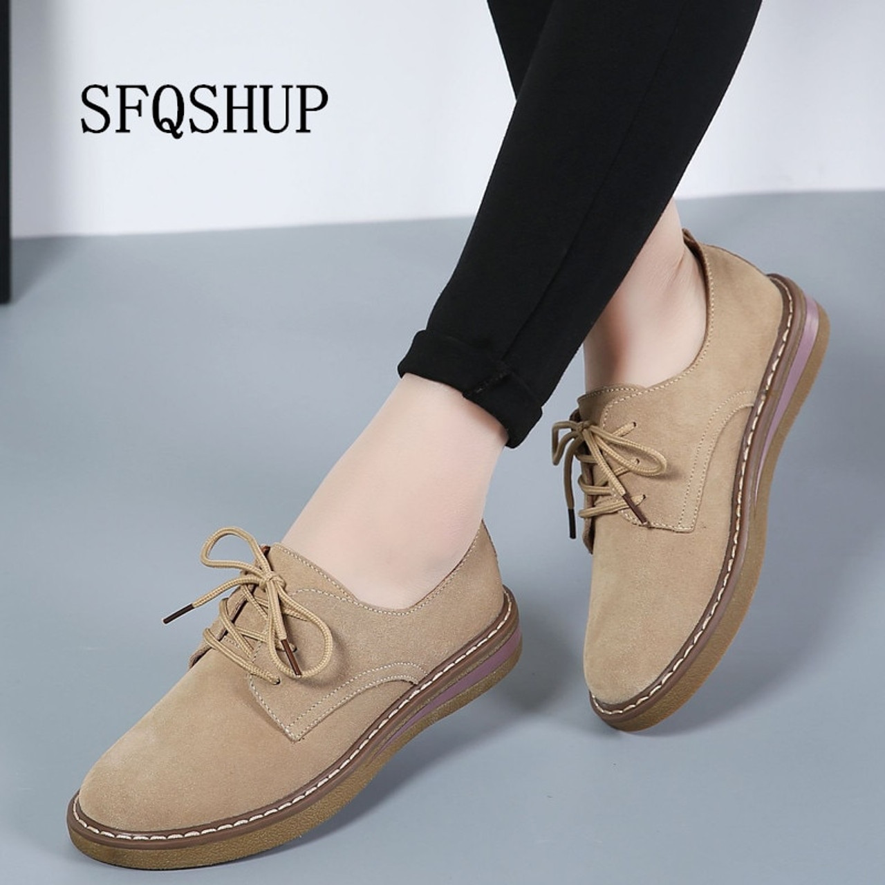 SFQSHUP Women's Shoes Genuine Leather Oxford Mother Girls Lace Up Fashion  Casual Shoes Women Sneakers Flats Moccasins Shoes - OnshopDeals.Com