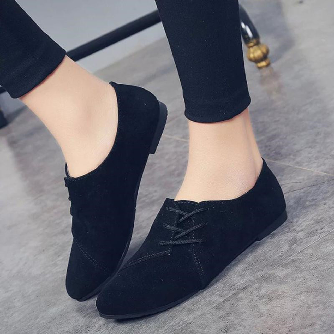 0992ed3d5162 ... Women Lace Up Flat Shoes Head Shoes Low To Help Flat Bottom Casual  Shoes Woman zapatos ...