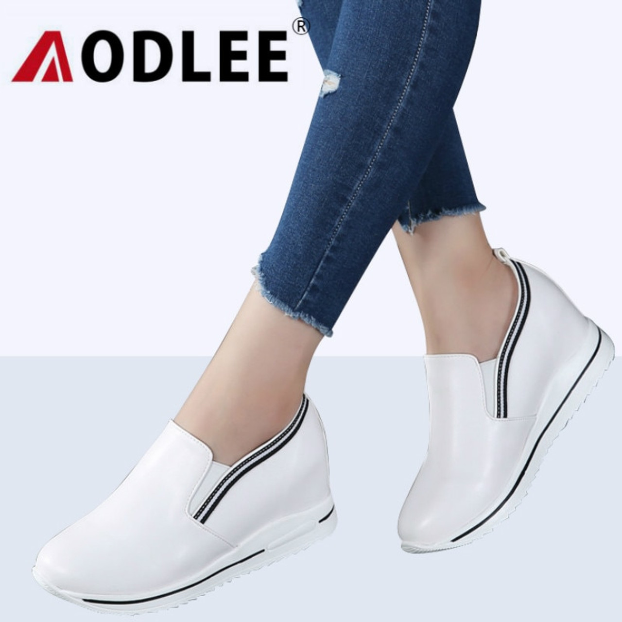 c9ad0eae8a59 AODLEE Increasing Flat Shoes Women Sneakers Fashion Platform Casual Shoes  Woman Genuine Leather Slip on Ladies ...