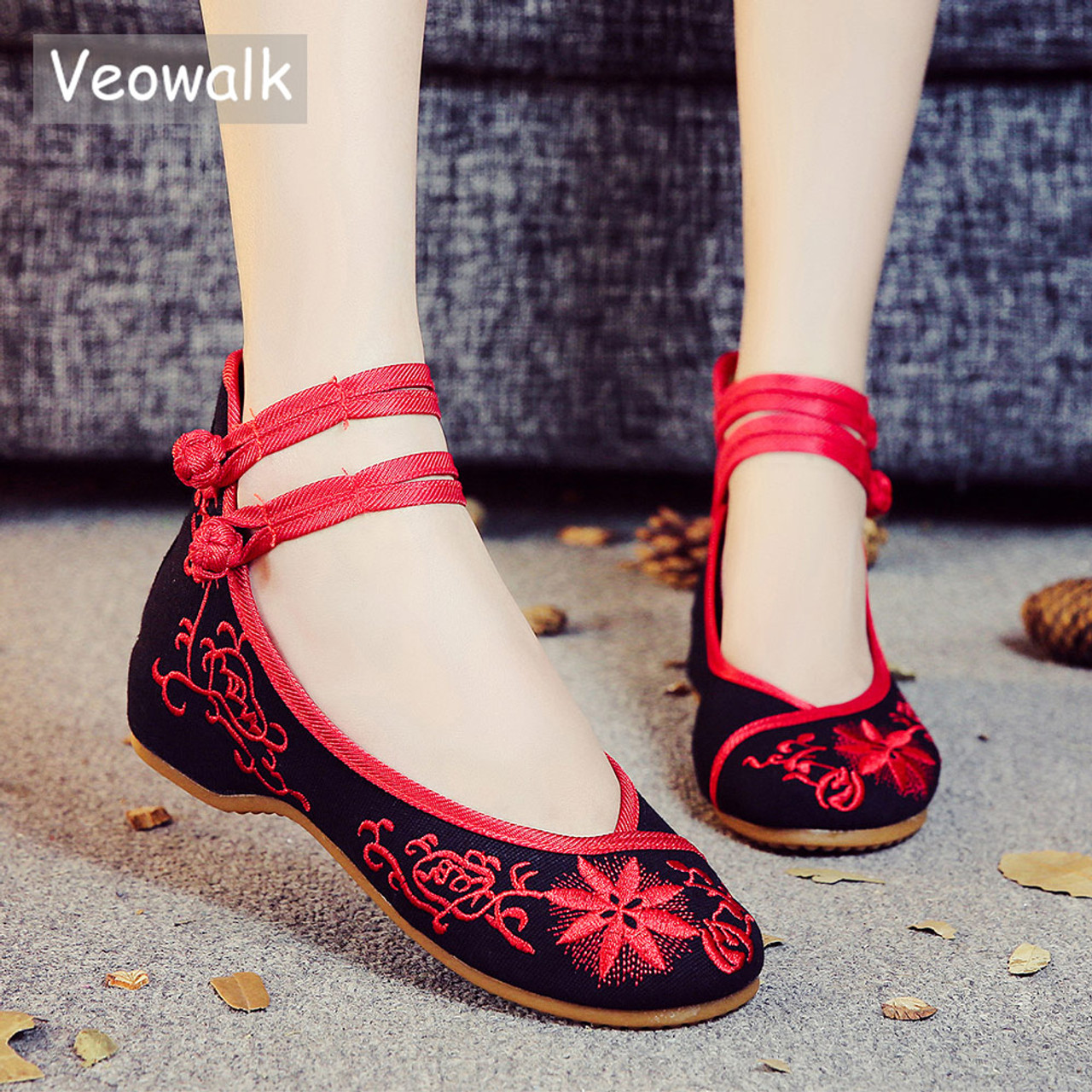 2179f605c505 Veowalk Sunflower Embroidered Women Canvas Ballet Flats Ankle Strap Ladies  Casual Cotton Chinese Embroidery Ballerina Shoes ...
