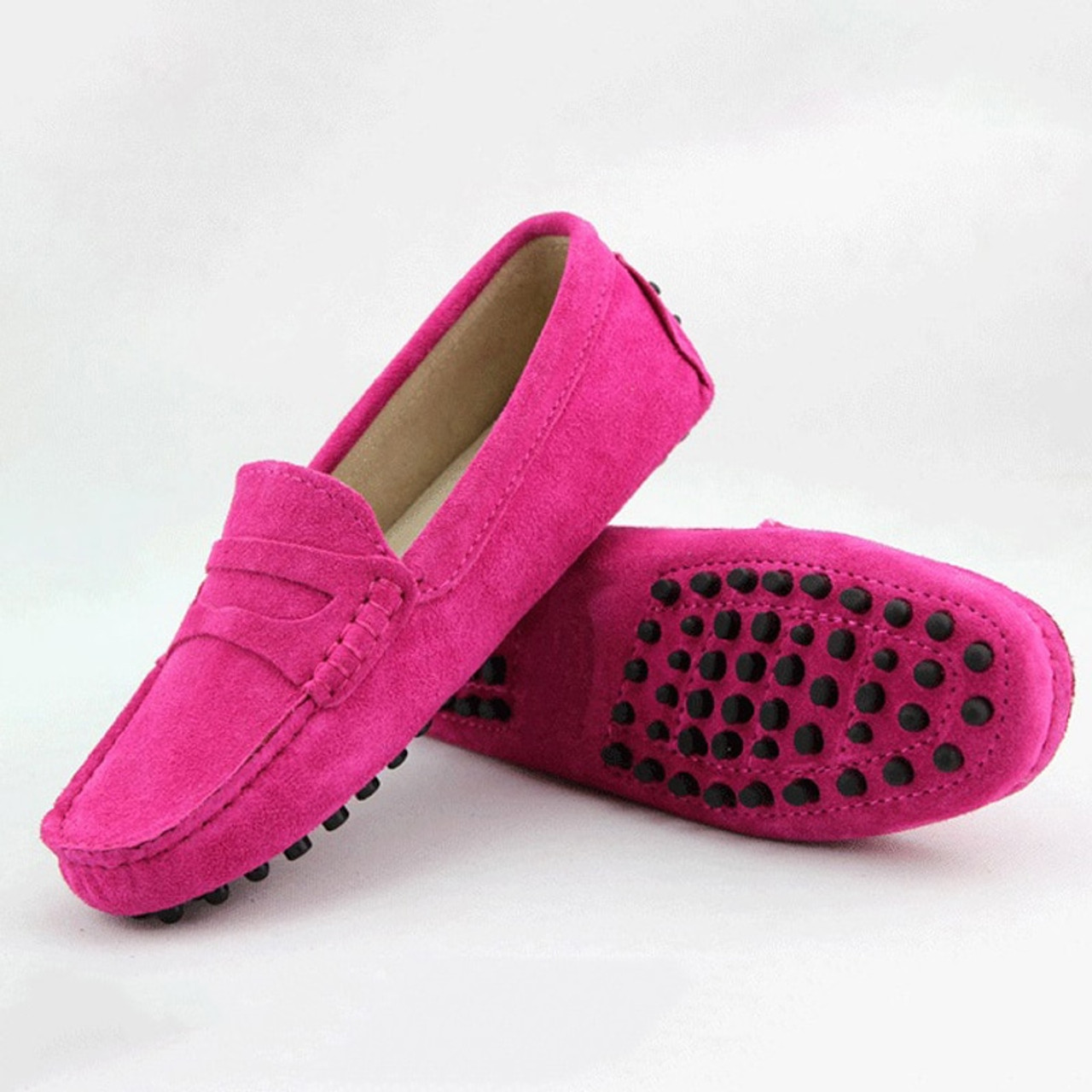 New Genuine Leather Women Flat Shoes Casual Loafers Slip On Womens Flats Shoes Moccasins Lady Driving Sh Yellow