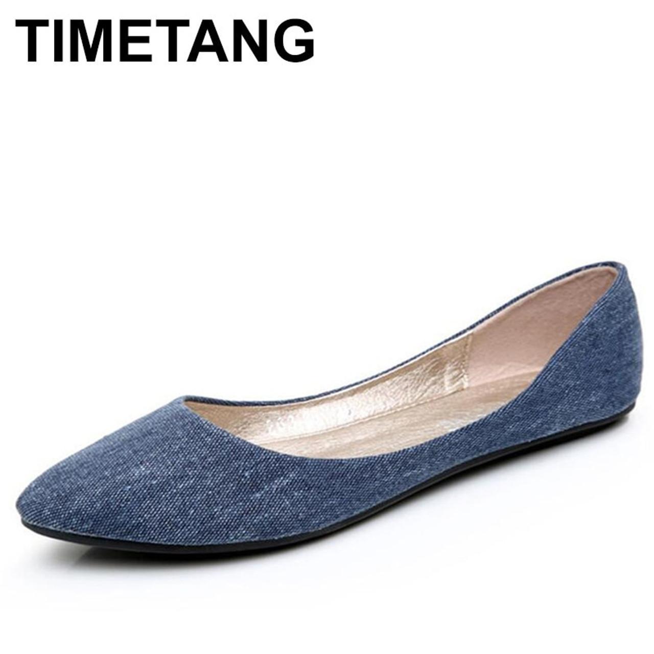 TIMETANG New Women Soft Denim Flats Blue Fashion High Quality Basic Pointy  Toe Ballerina Ballet Flat ... 0e40d8047ffa