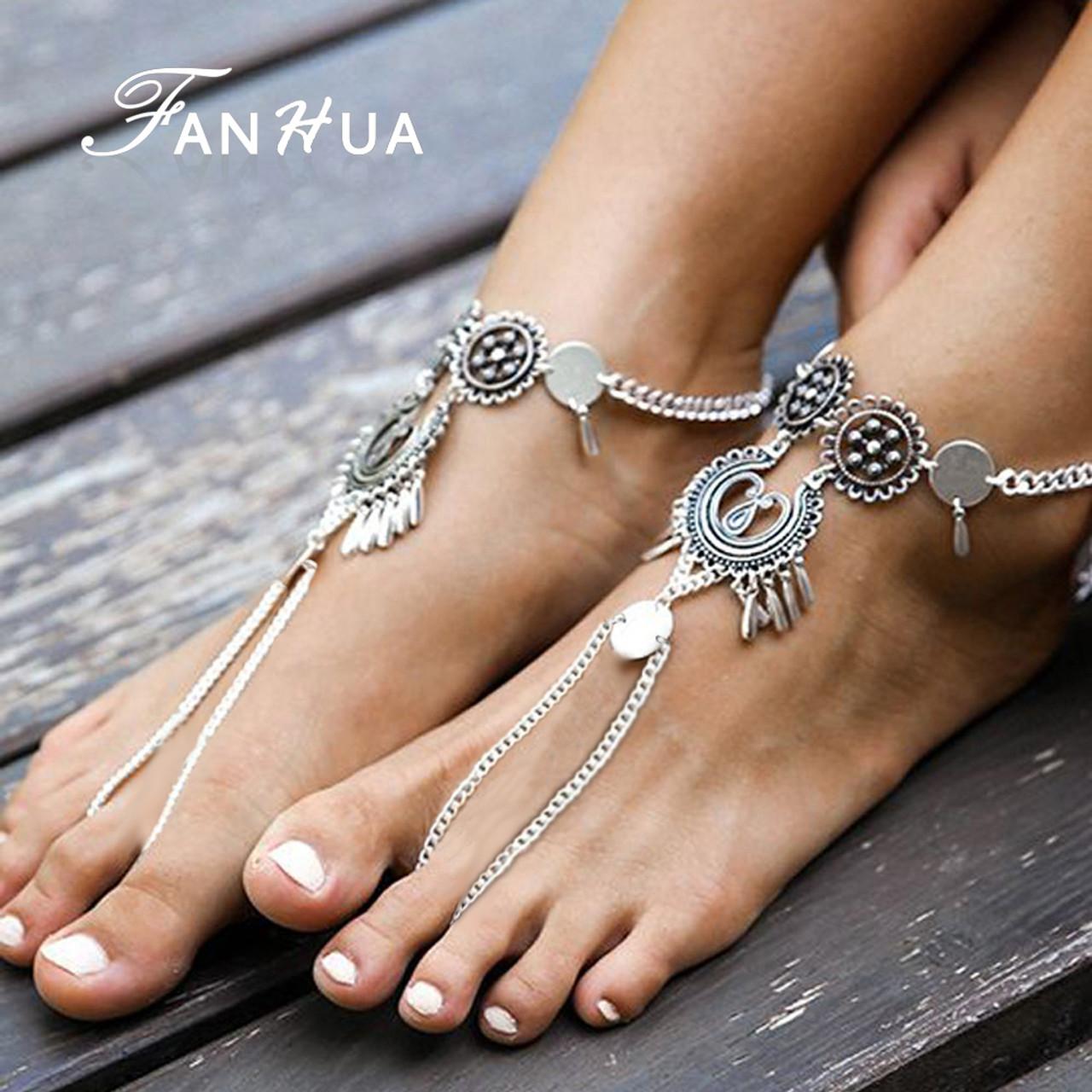 purple Boho star Anklet ankle bracelet beach silver festival string hippy