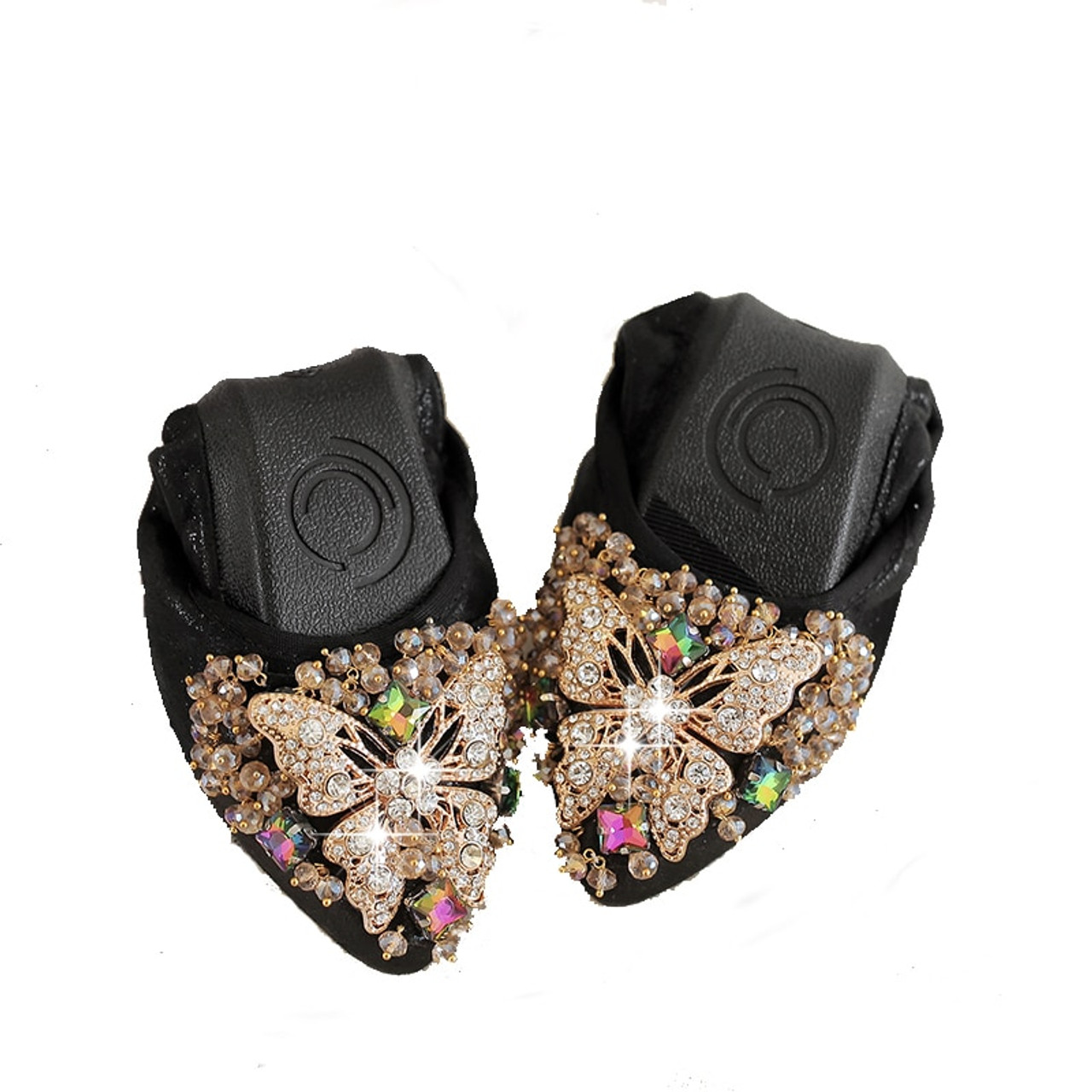 be759324917c91 ... Plus Size 35-42 Ladies Flat Shoes Fashion Bling Butterfly Rhinestone  Women Flats Casual Leather ...