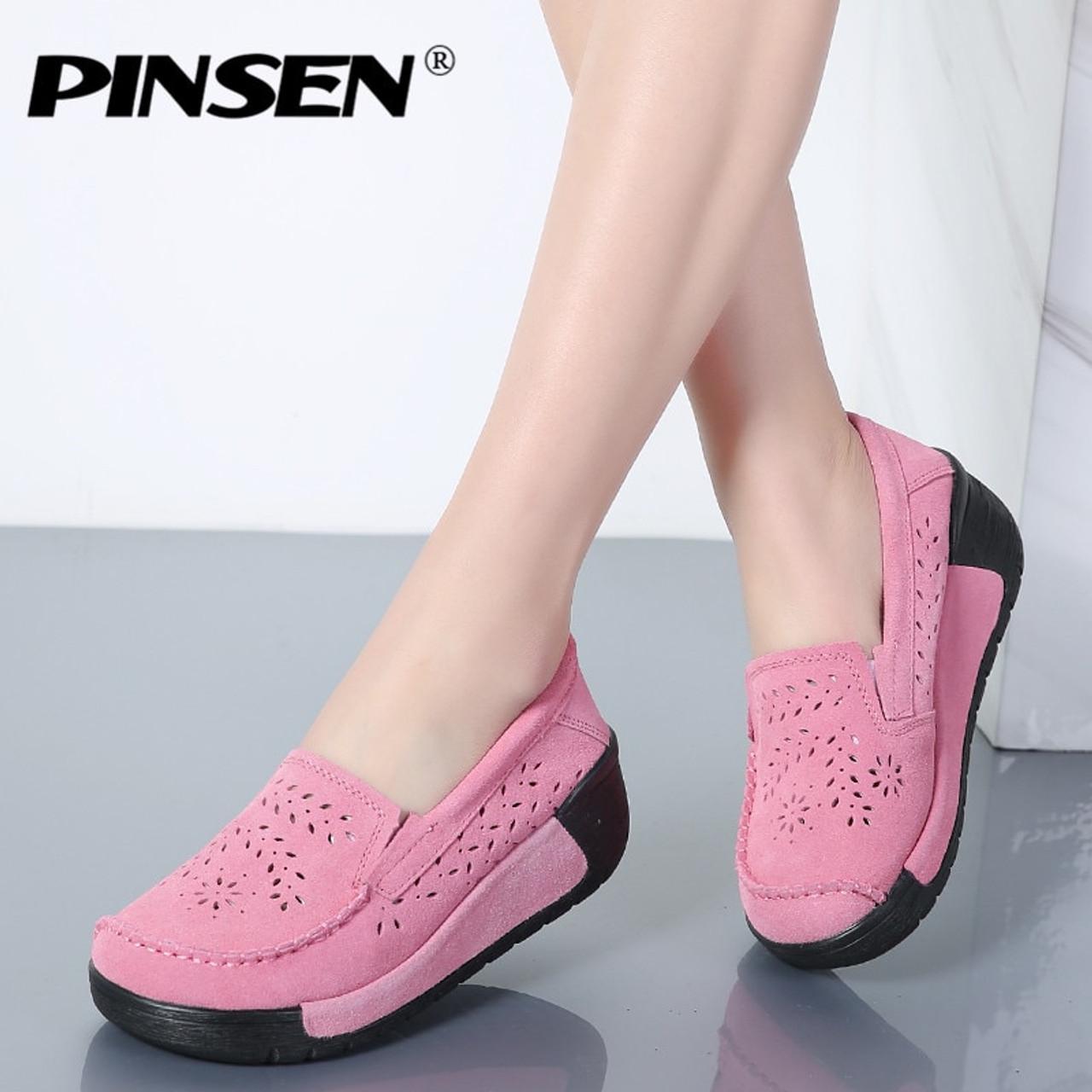 PINSEN Summer Women Casual Shoes Suede