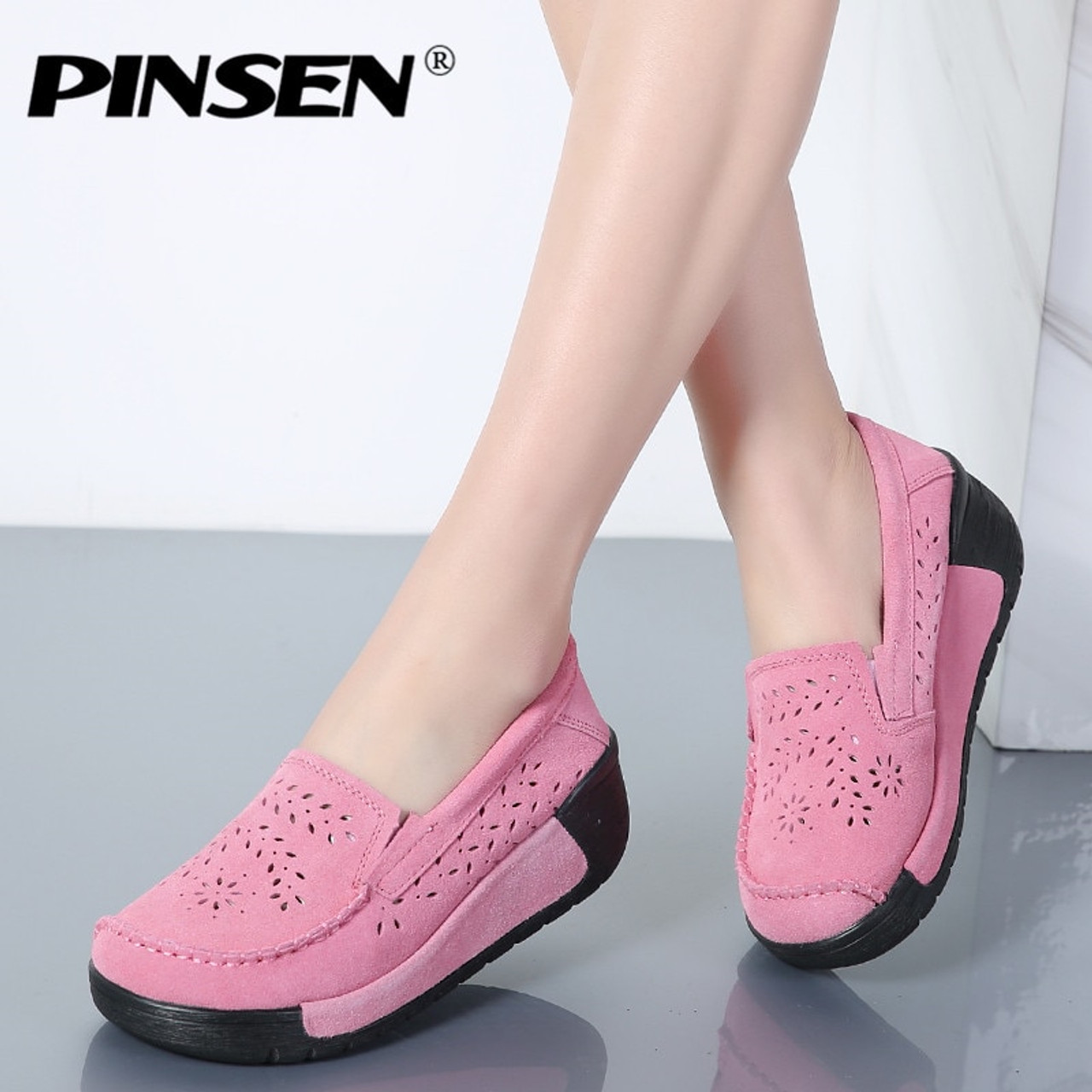 18070f70d7cd ... PINSEN Summer Women Casual Shoes Suede Leather Slip-On Women Flats  Platform Shoes Woman Moccasins ...