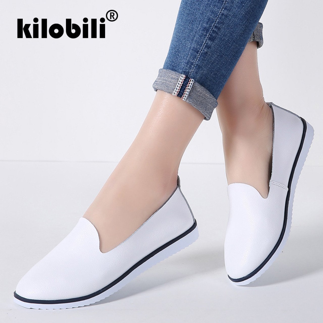 b02aeaaa8a2 kilobili 2018 Spring Women Flats Shoes Slip On Flat Loafers Leather Shoes  Ladies Ballet Flats Boat ...