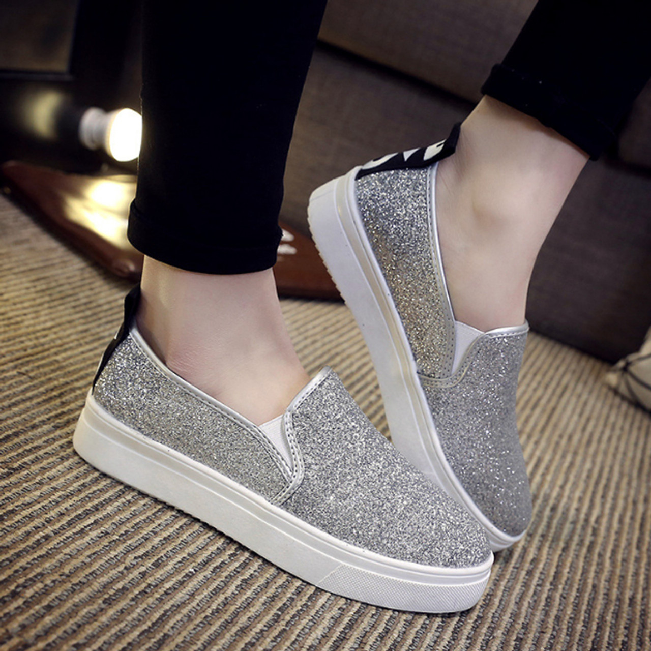 54b70d279e 2018 Bling Women Loafers Spring Sequined Cloth Platform Flat Shoes Ladies  Slip On Woman Slipony Creeper Flats Casual Shoes 051