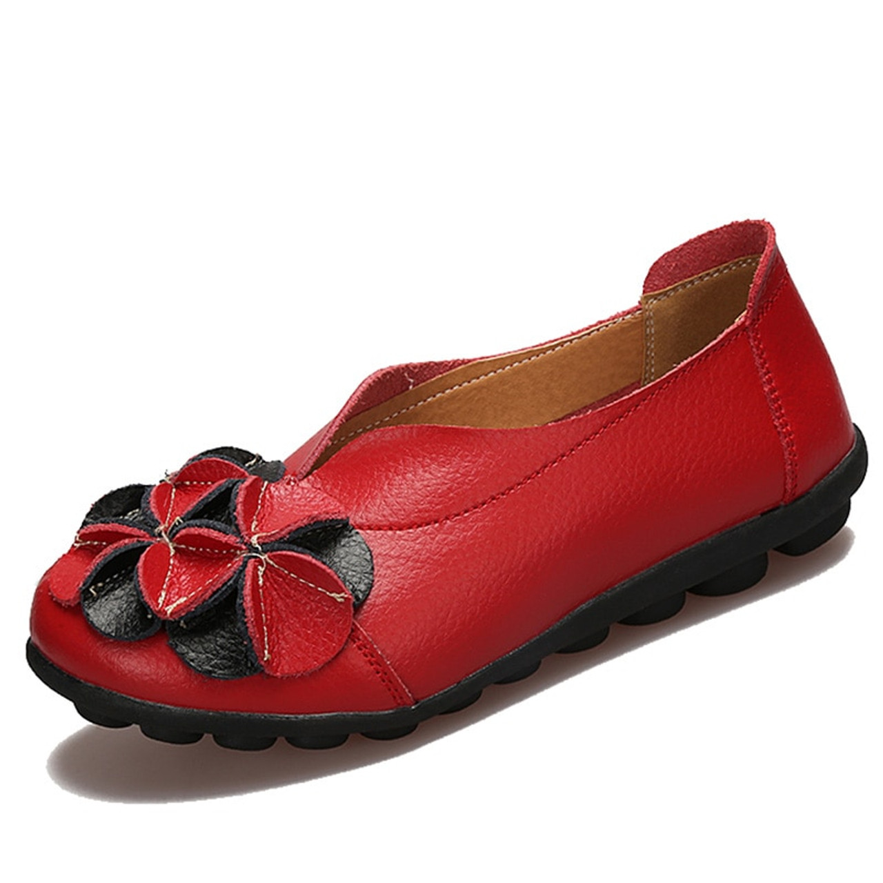 f48470c4ac ... O16U Hand Made Women Retro Ballet Flats Shoes Flower Genuine Leather  Slip on Black Moccains Vintage ...