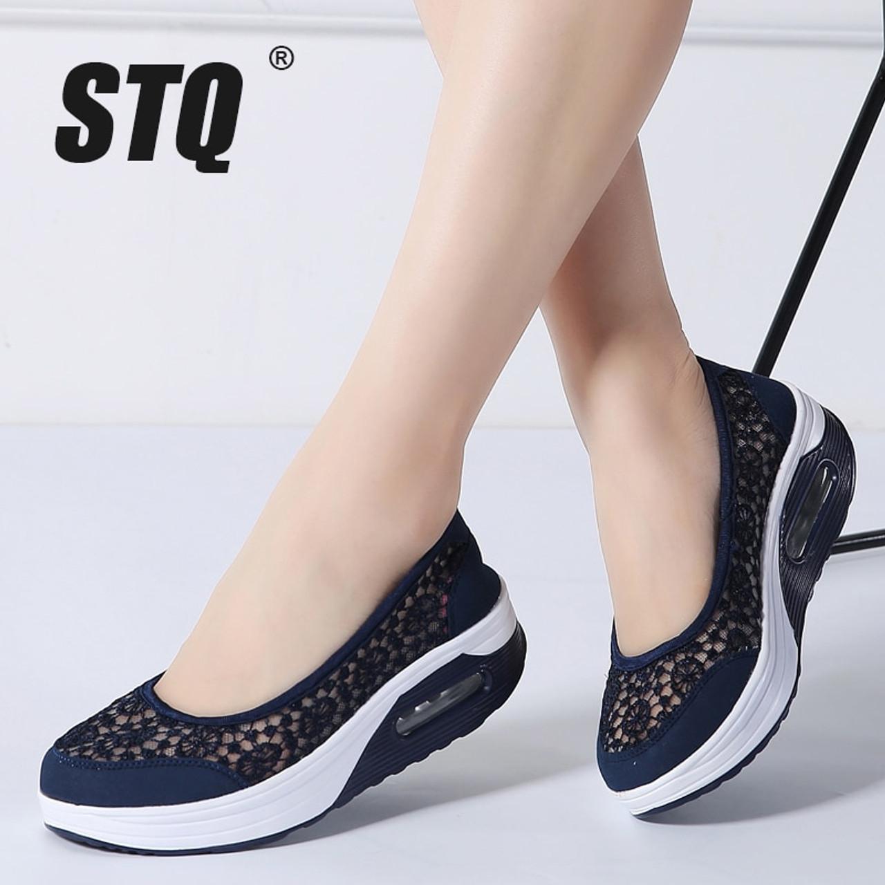 d19cd8b57054a STQ 2019 Summer women flat platform shoes women breathable mesh casual  sneakers shoes ladies slip on ...