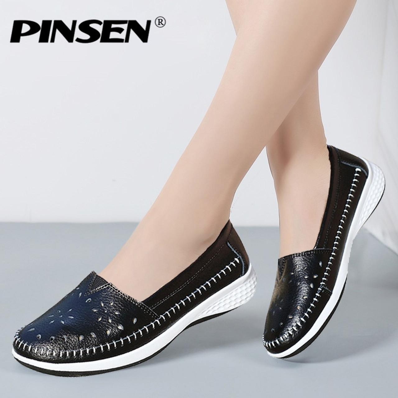 PINSEN 2019 Spring Flat Shoes Women