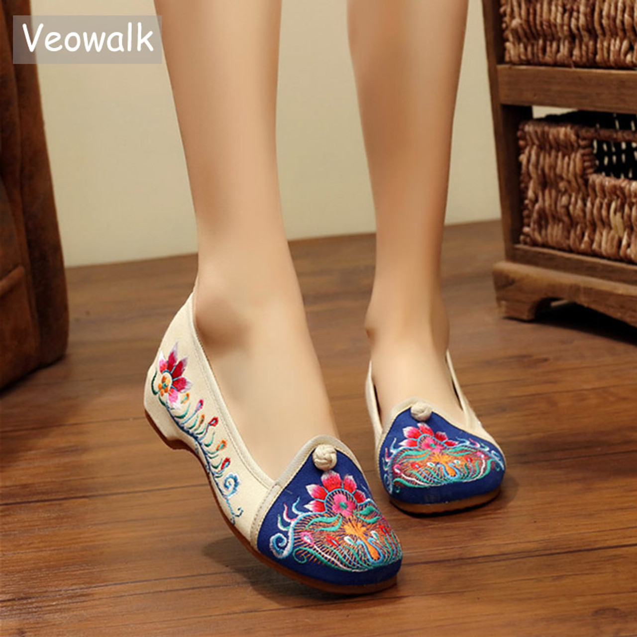 967b6df8d2c95 Veowalk Vintage Women's Casual Cotton Fabric Floral Embroidered Ballet  Flats Ladies Casual Canvas Embroidery Shoes zapatos mujer