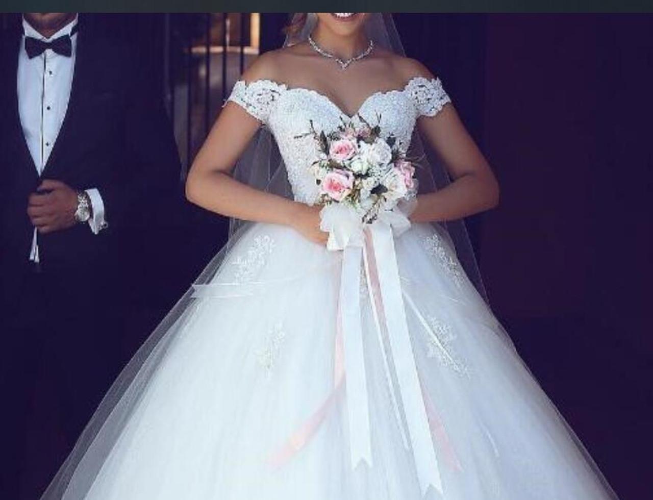 Jieruize White Lace Appliques Ball Gown Cheap Wedding Dresses Off The Shoulder Short Sleeves Bridal Dresses Wedding Gowns Onshopdeals Com