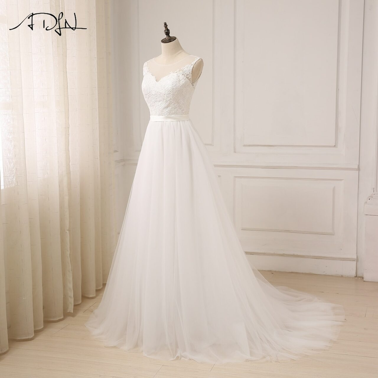 05999a72e98e ... ADLN Cheap Lace Wedding Dress O-Neck Tulle Boho Beach Bridal Gown  Bohemian Wedding Gowns ...