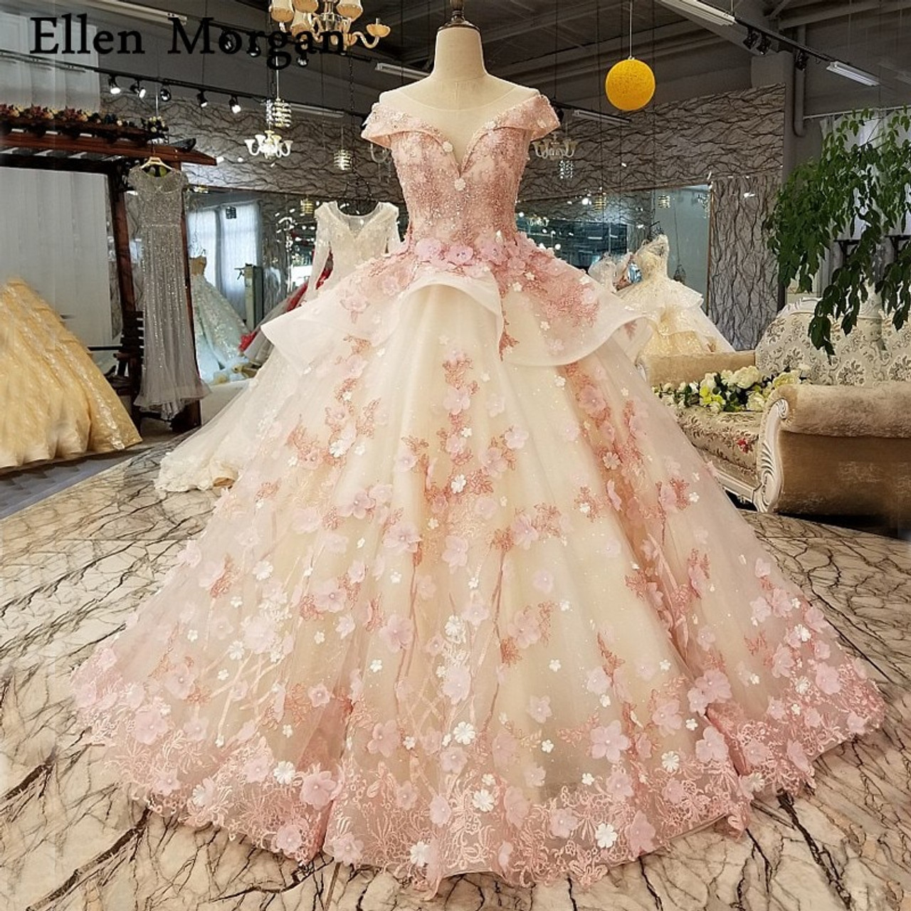 6843c74e7 Elegant Pink Lace Princess Wedding Dresses 2018 African Black Girls Flowers  Lace up Sheer Neck Puffy Ball Gowns Bridal Gowns - OnshopDeals.Com