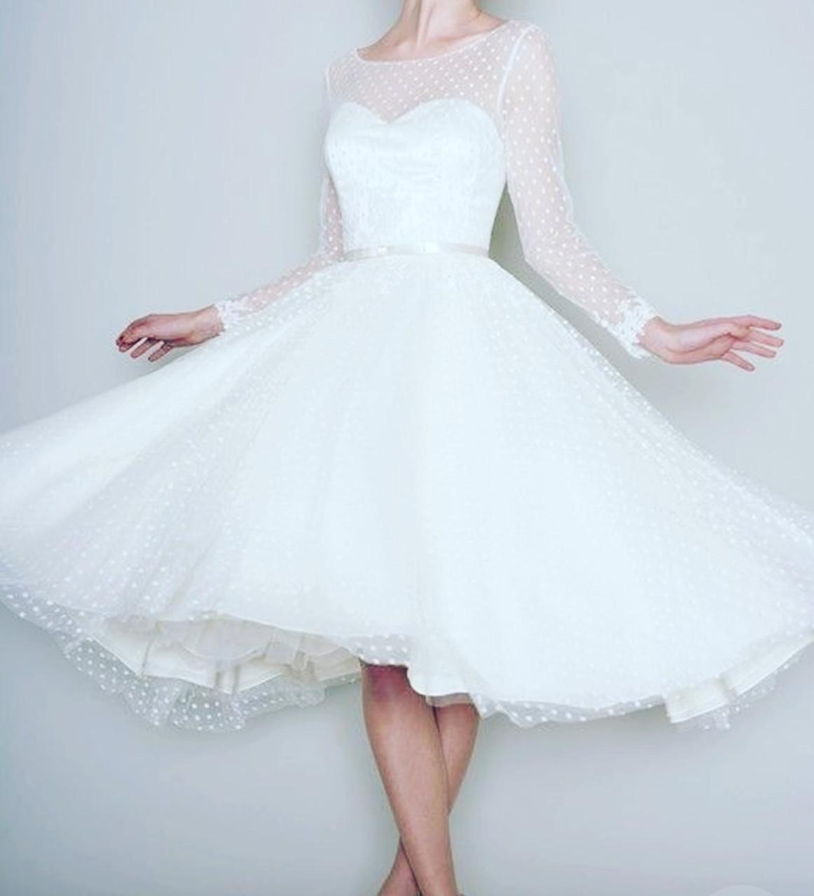 1231553fc ... 1905's Vintage White Long Sleeve Short Wedding Dress Women Bridal  Dresses Tea Length Retro Dotted Wedding ...