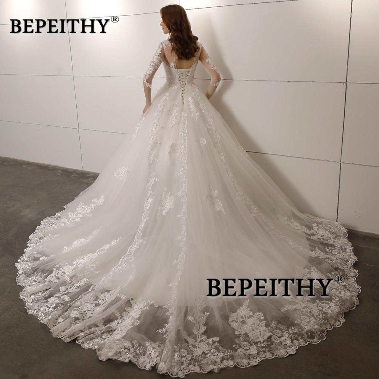 Vestido De Novia Three Quarter Sleeves Lace Wedding Dress 2018 Open Back Vintage Bridal Dresses Ball Gown Hot Sale Onshopdeals Com