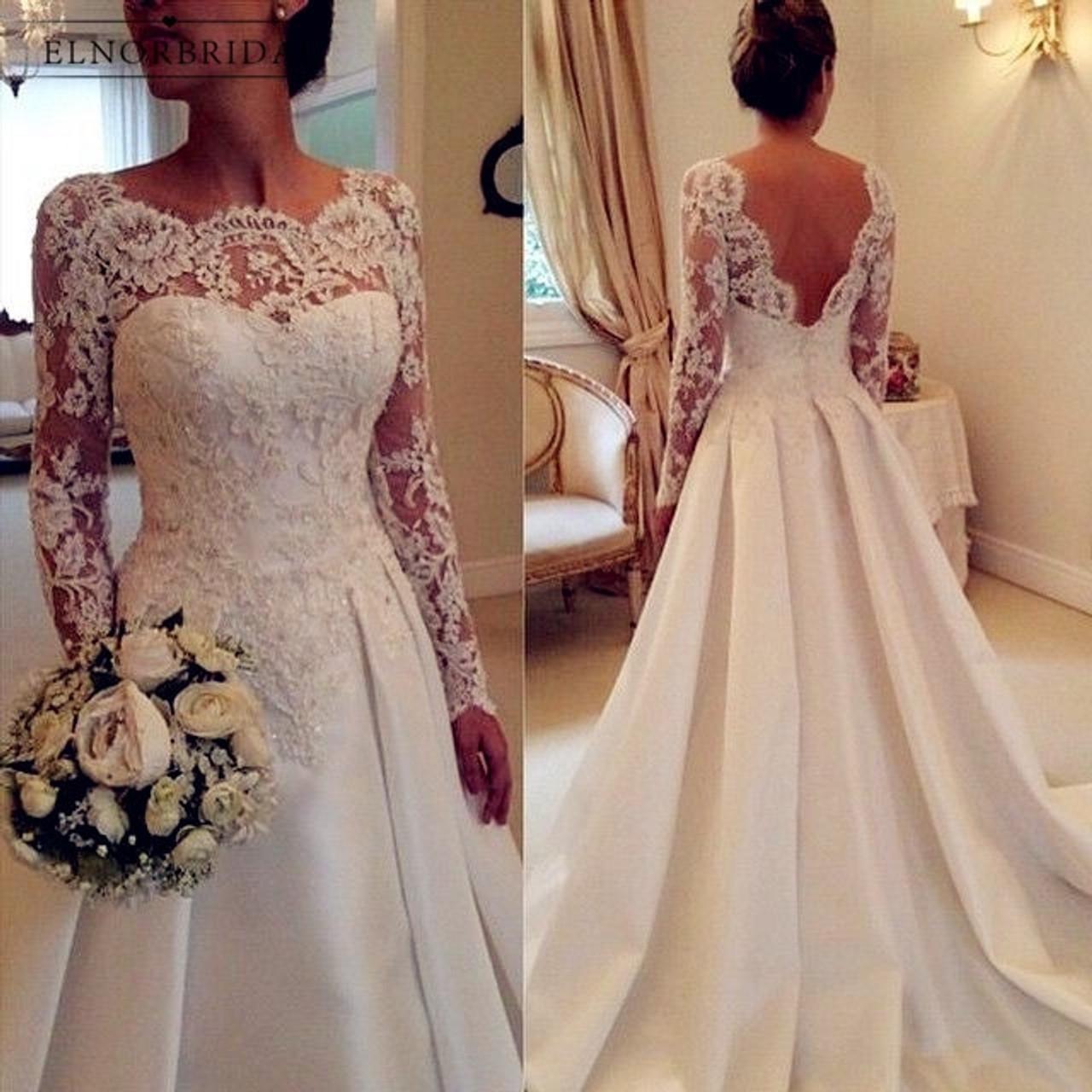 White Ivory Long Sleeve Lace Wedding Dresses 2018 Casamento Sheer