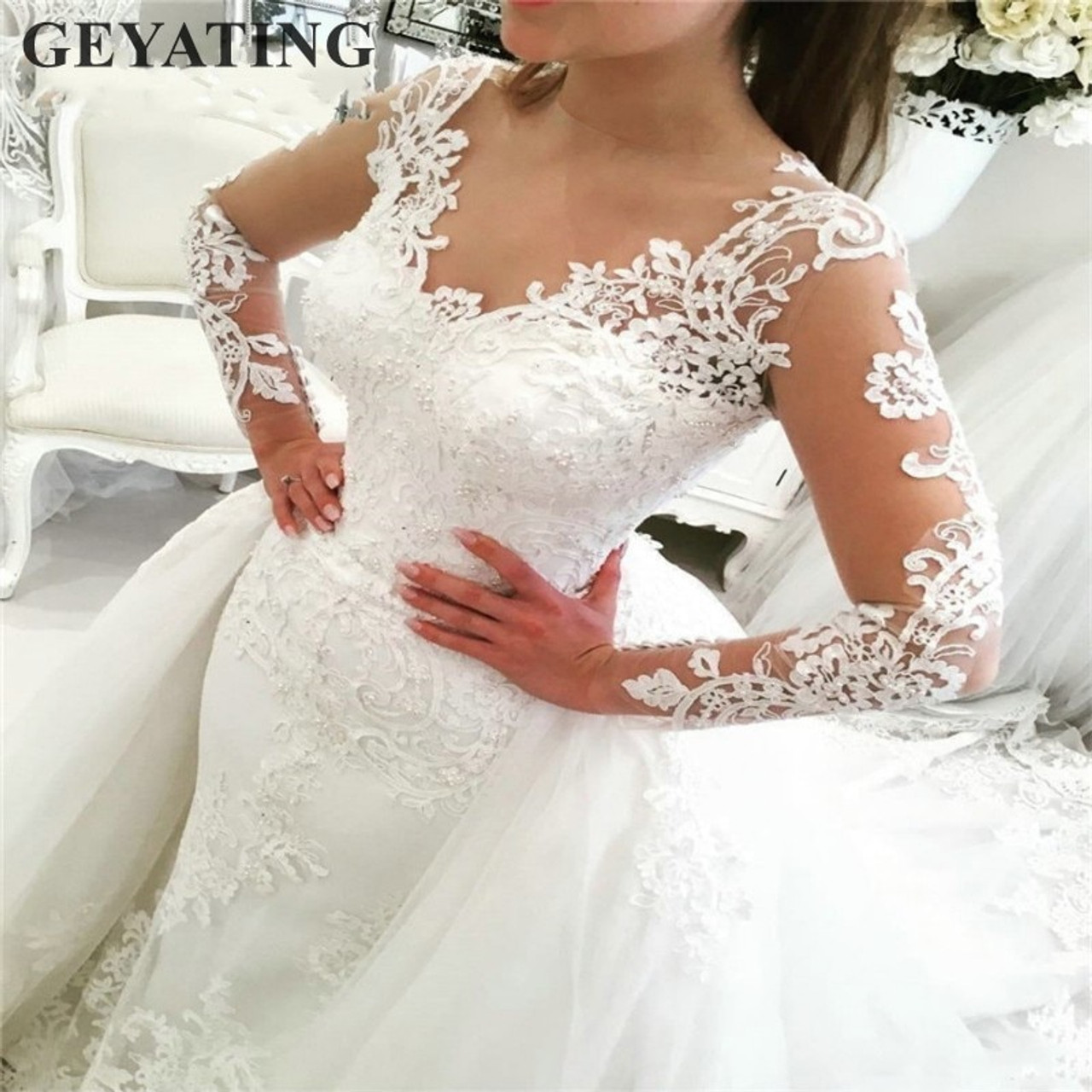 Luxury Lace Long Sleeve Mermaid Wedding Dress With Detachable Skirt Backless Court Train Saudi Arabia Bridal Wedding Gowns Dubai