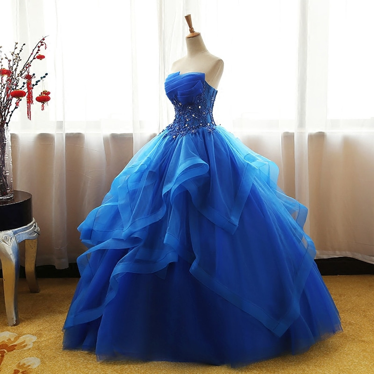 a2f6d3f8e1c ... 8 Layers Luxury Vintage Lace Ball Gown Quinceanera Dress Ruched Crystal  Organza Vestidos De 15 Debutante ...