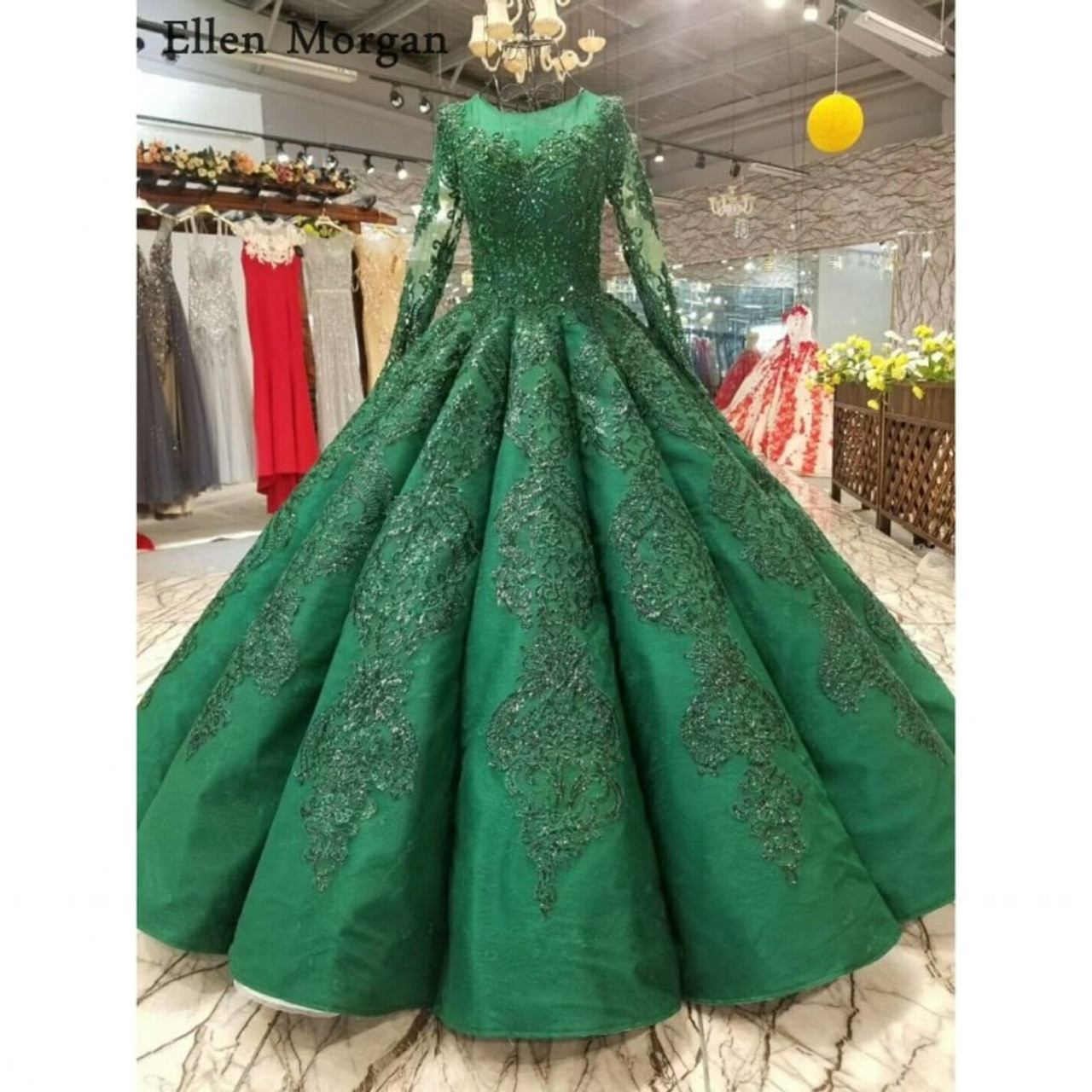 76a47f14b16 High Quality Green Ball Gowns Wedding Dresses 2018 Saudi Arabian Dubai Lace  up Vintage Long Sleeves ...
