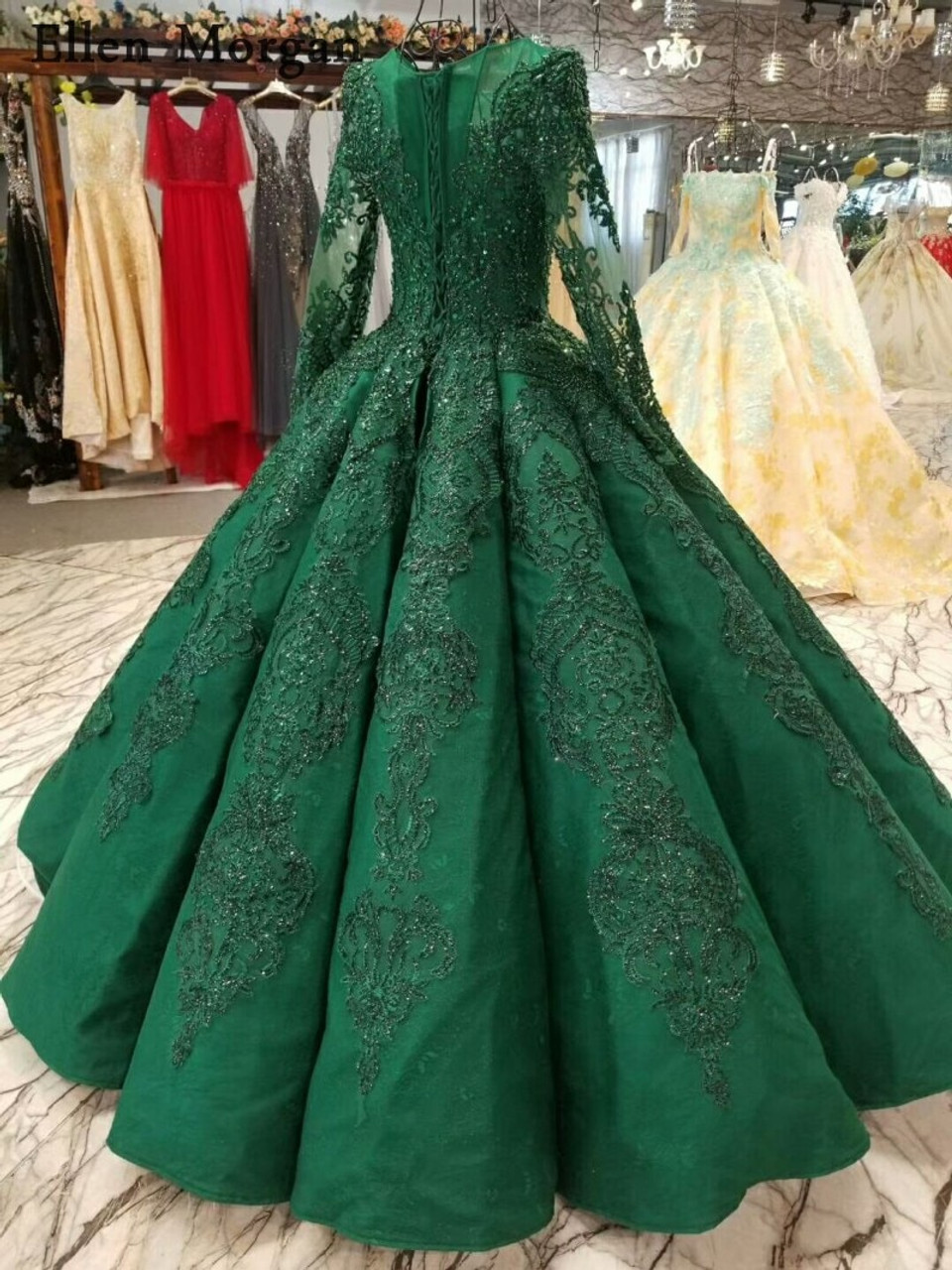 be888c670c9 ... High Quality Green Ball Gowns Wedding Dresses 2018 Saudi Arabian Dubai  Lace up Vintage Long Sleeves ...