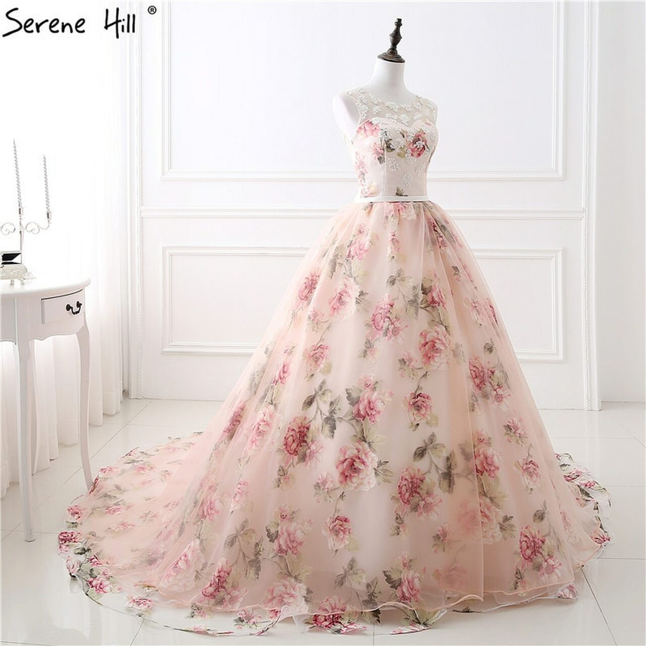 Romantic Flowers Pattern Fashion Sexy Wedding Dress Sleeveless
