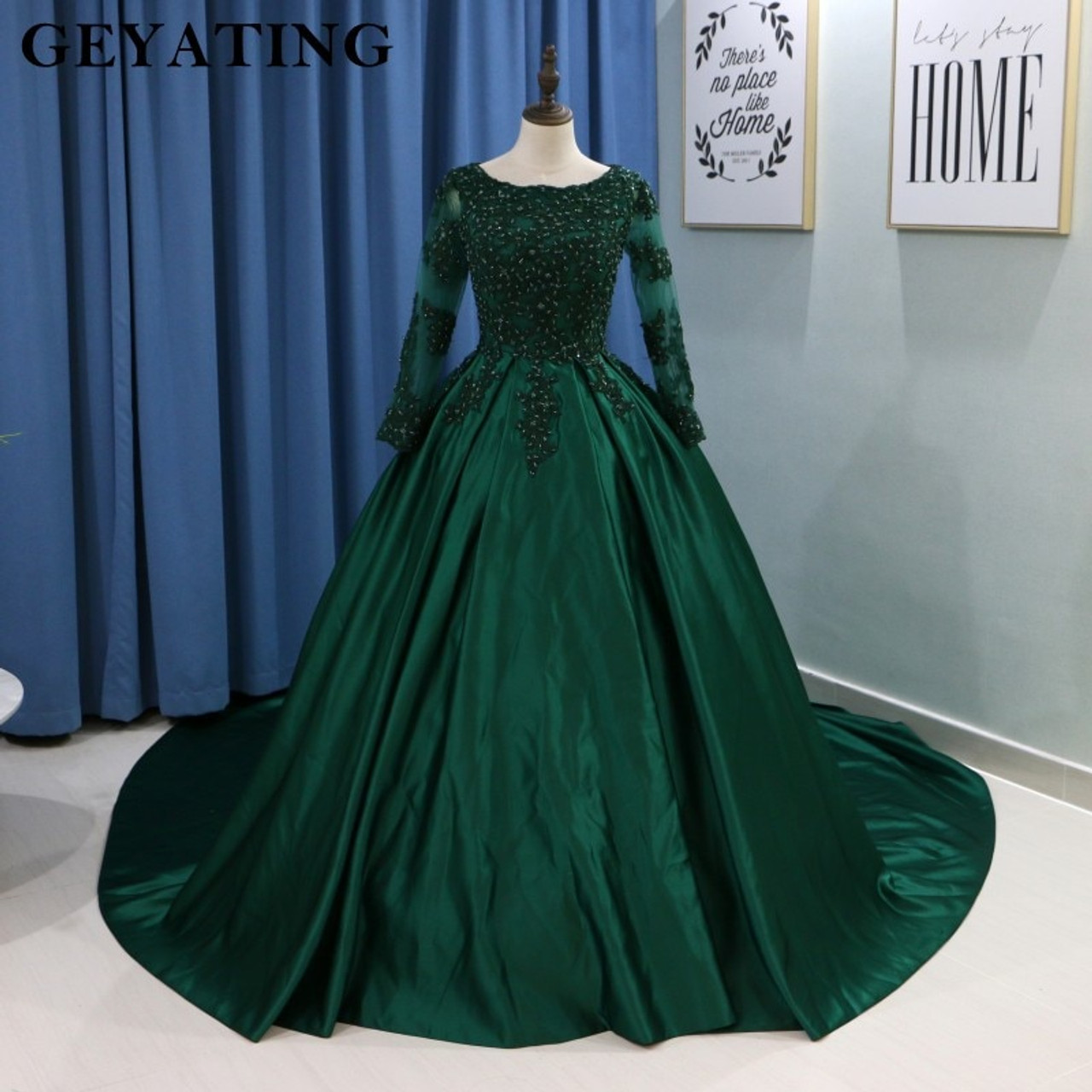 2d22e09cad932 Emerald Green Lace Long Sleeves Muslim Wedding Dress 2018 Ball Gown  Princess Bride Dresses Islamic Satin ...