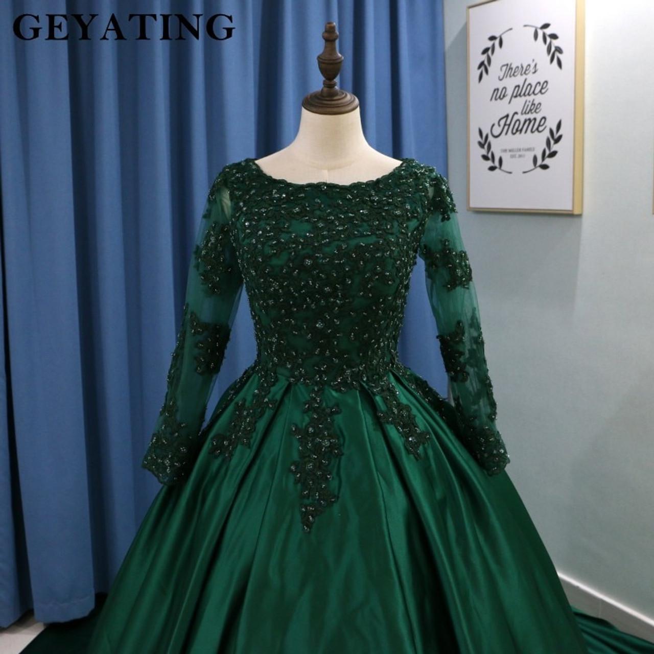 Emerald Green Lace Long Sleeves Muslim Wedding Dress 2018 Ball Gown  Princess Bride Dresses Islamic Satin Court Train Bridal Gown