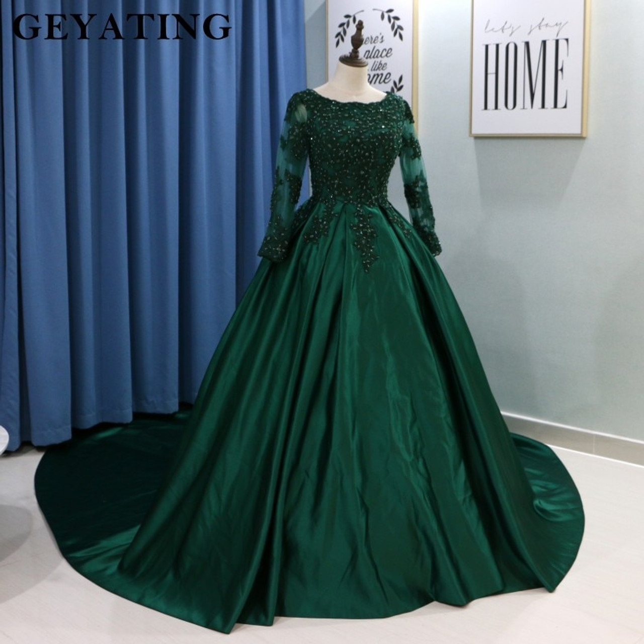 abef3fd2a0d3 ... Emerald Green Lace Long Sleeves Muslim Wedding Dress 2018 Ball Gown  Princess Bride Dresses Islamic Satin ...