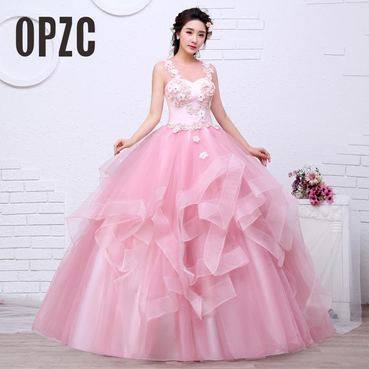 free shippin pink color yarn girls wedding dress 2017 new fashion simple  female art exam gowns part dress vestidos de novia